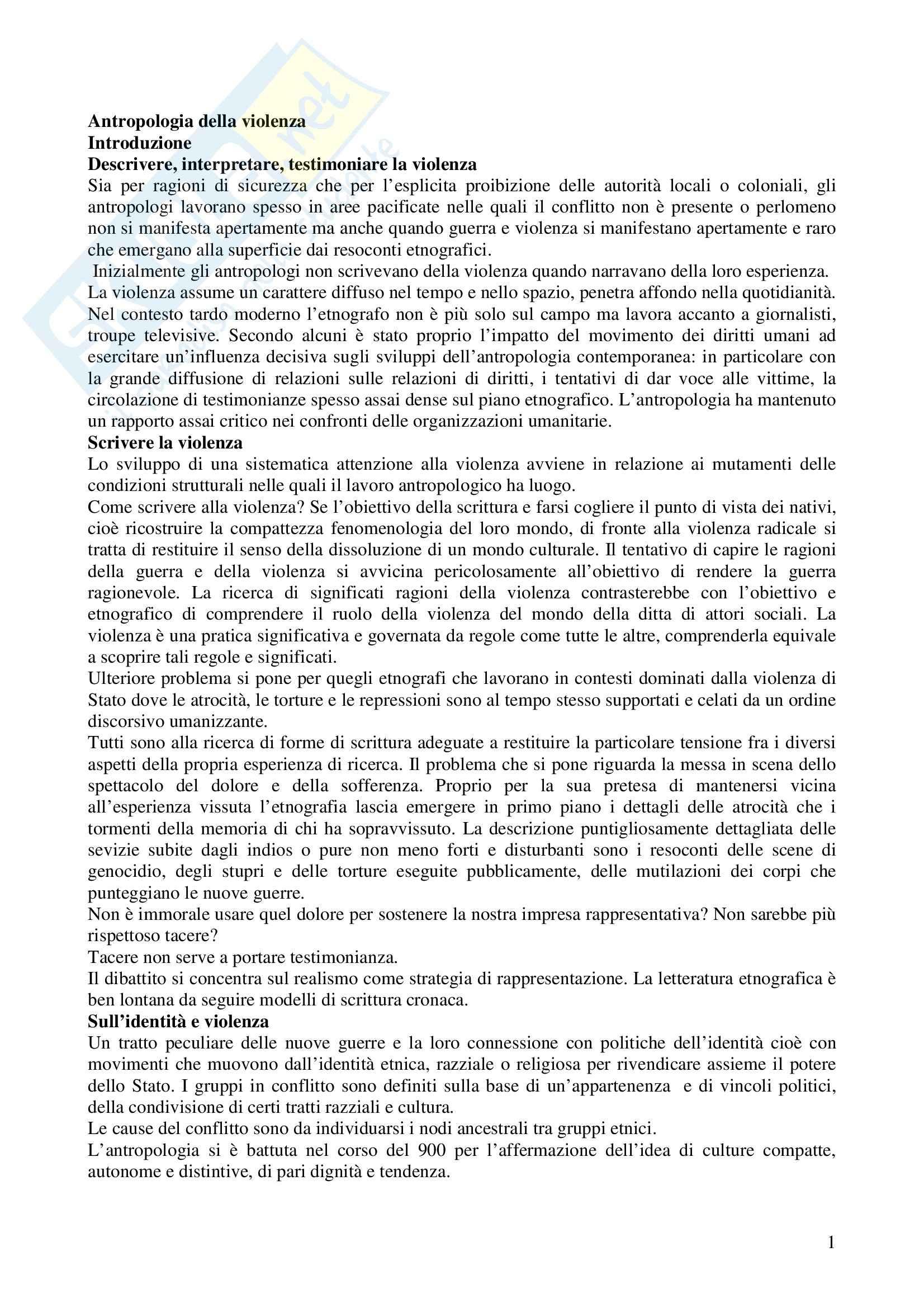 Riassunto esame Antropologia della Scrittura, prof. Giletti, libro consigliato Antropologia della Violenza, Dei