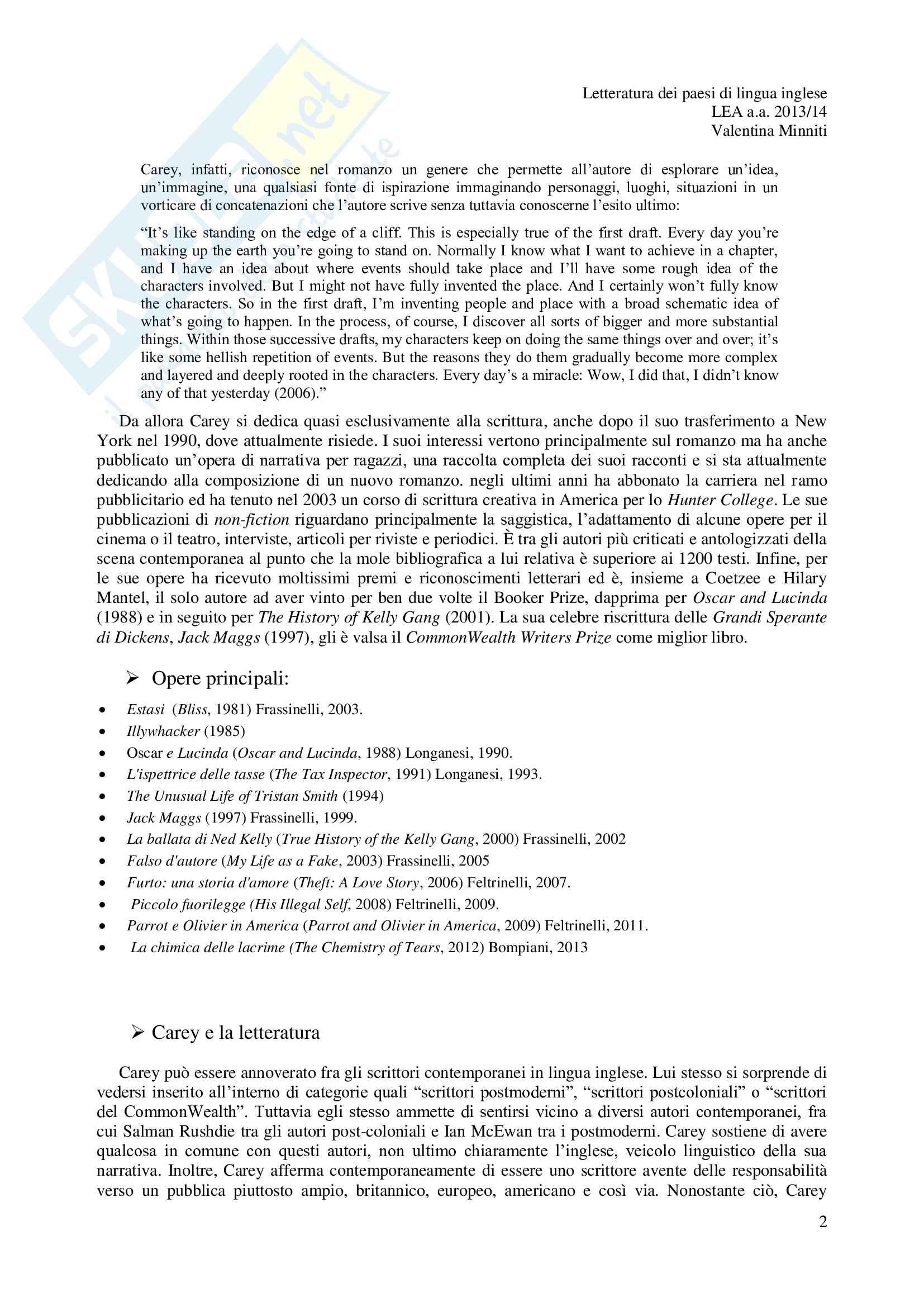Riassunto esame Letteratura dei Peasi di Lingua inglese, prof. Rizzardi, libro consigliato Jack Maggs, Carey Pag. 2