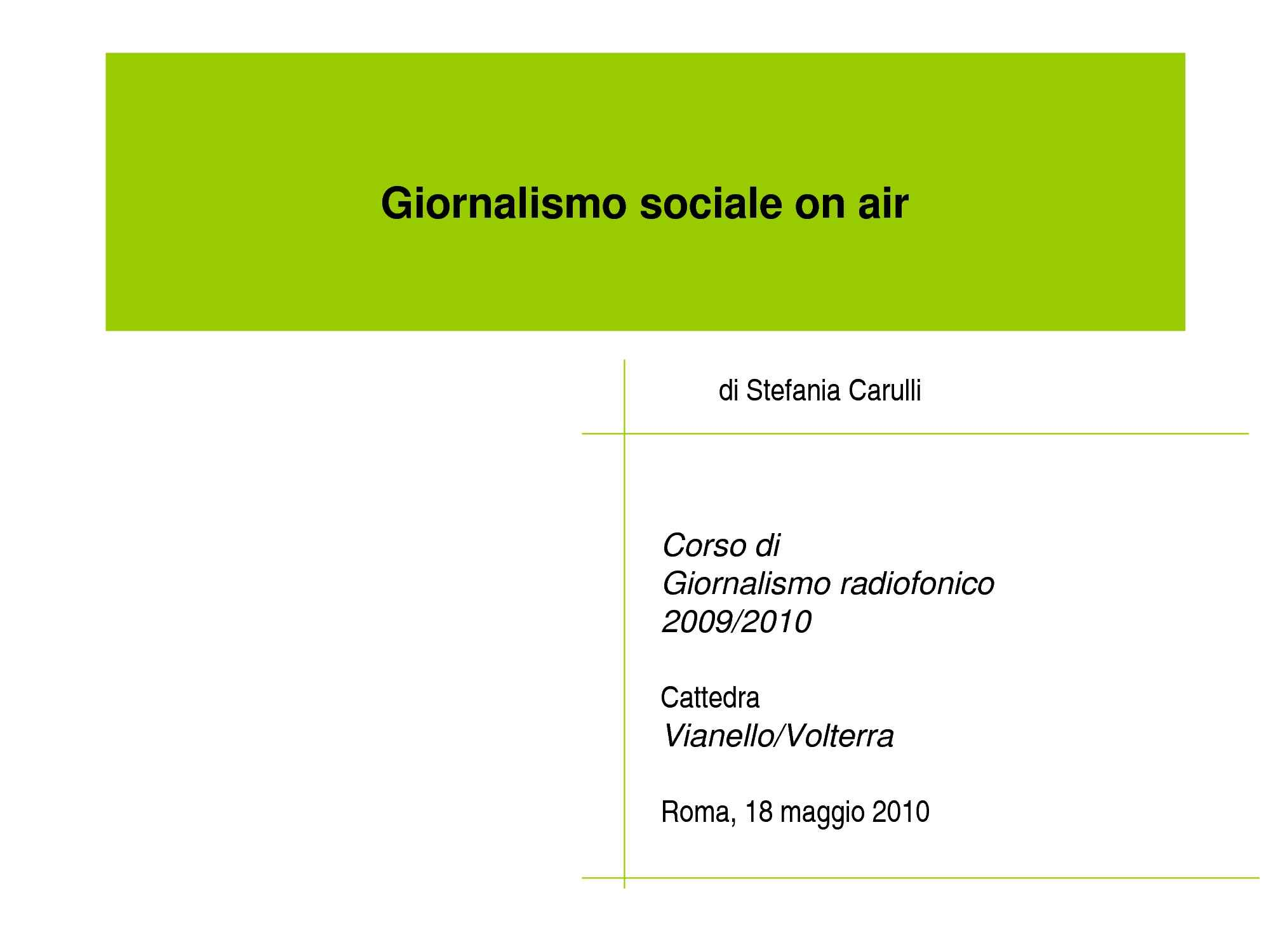 Giornalismo Sociale On Air