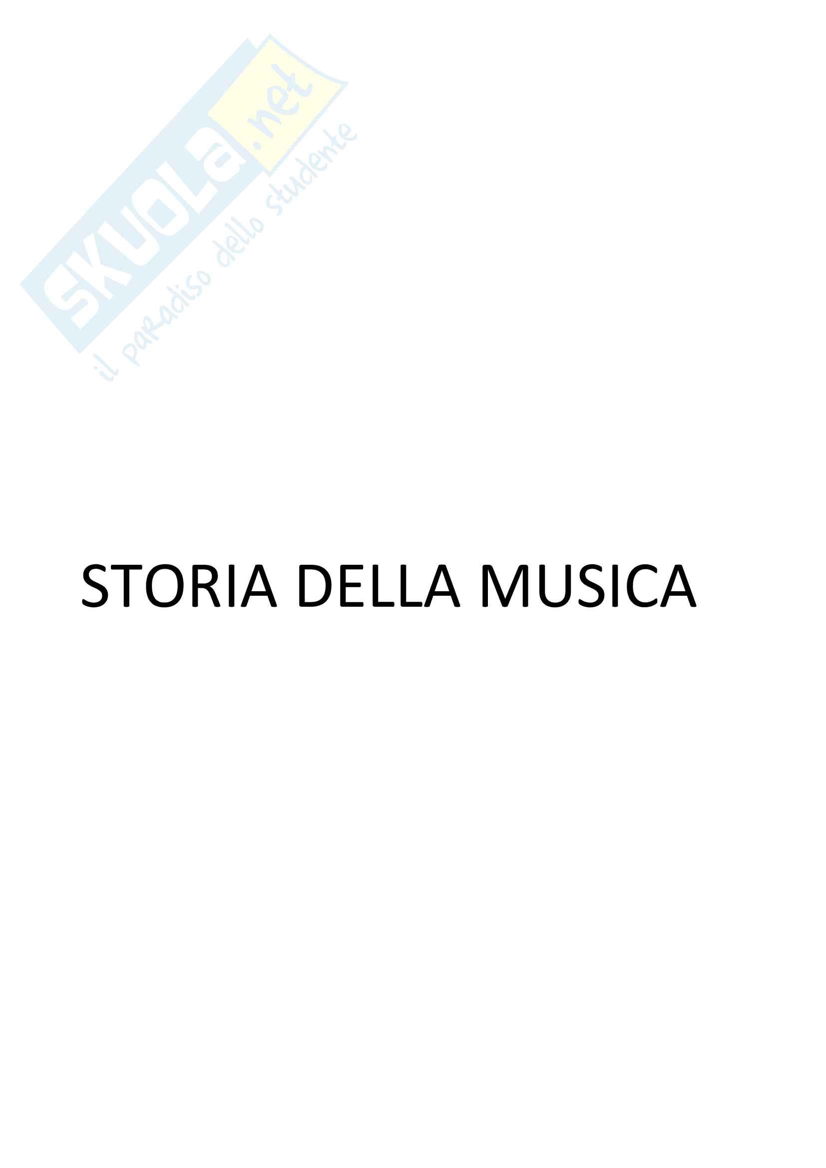 Riassunto esame di Storia della Musica, docente G. Moppi. (libri consigliati in descrizione)
