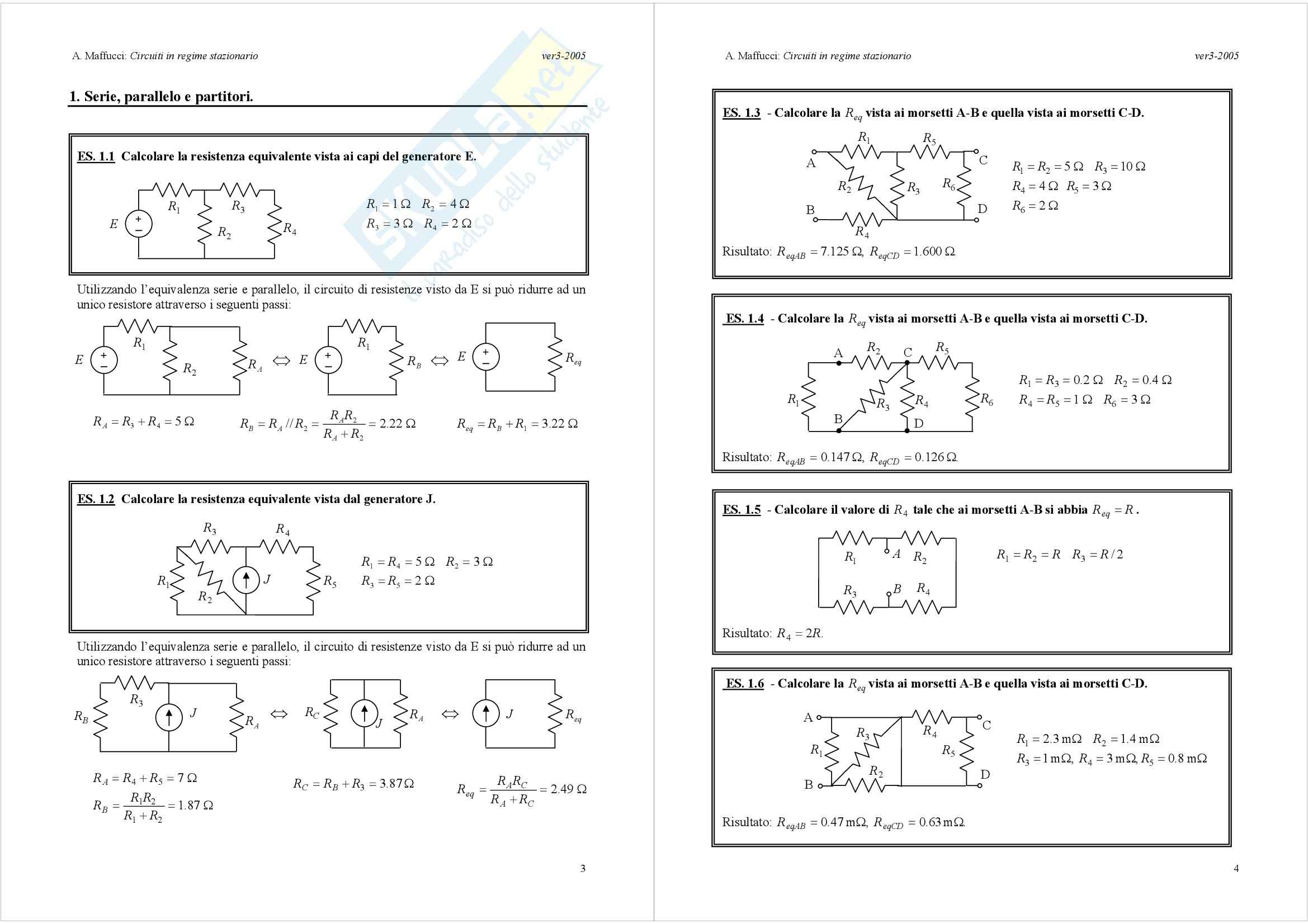 Introduzione ai circuiti – Regime stazionario Pag. 2