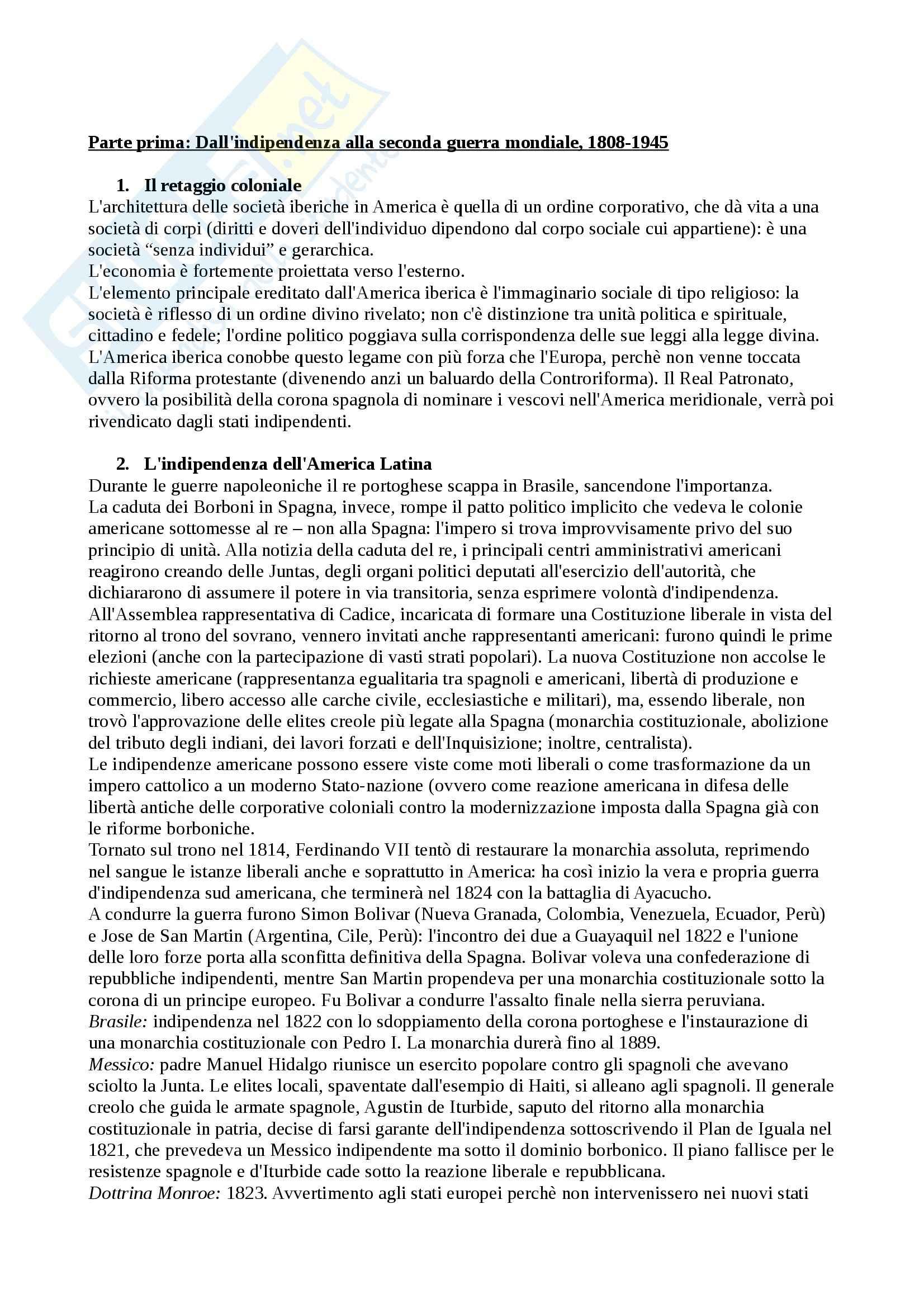 Riassunto esame Storia dell'America Latina, prof. Vangelista, libro consigliato Storia dell'America Latina Contemporanea, Zanatta