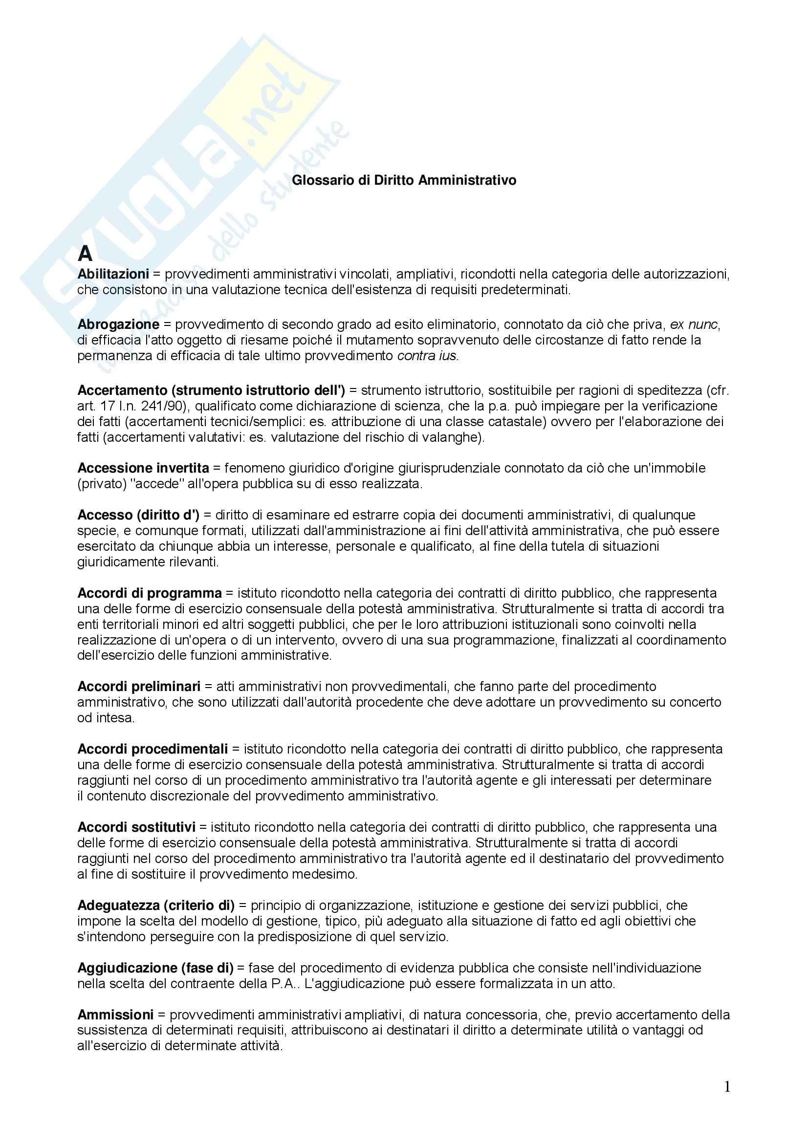 Diritto amministrativo – Glossario
