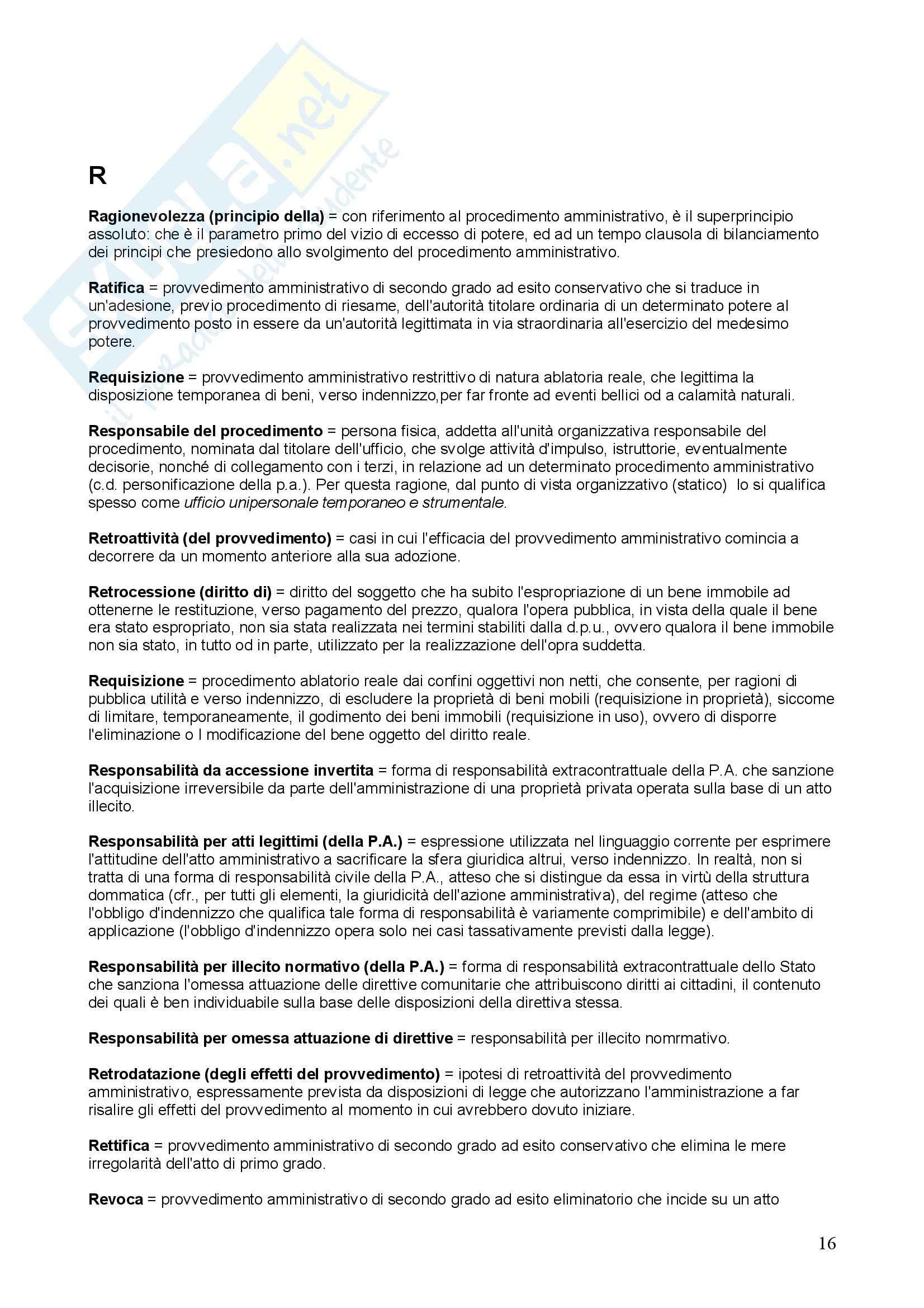 Diritto amministrativo – Glossario Pag. 16