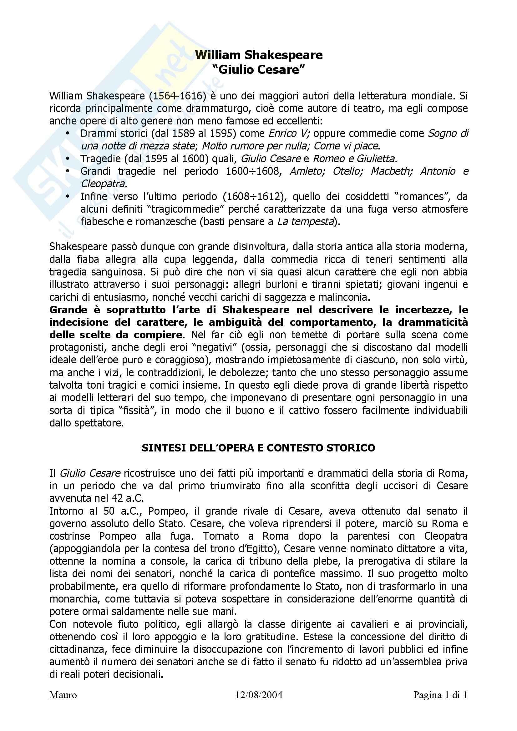 Tecniche espressive e composizione testi in italiano - Giulio Cesare, sintesi e critica