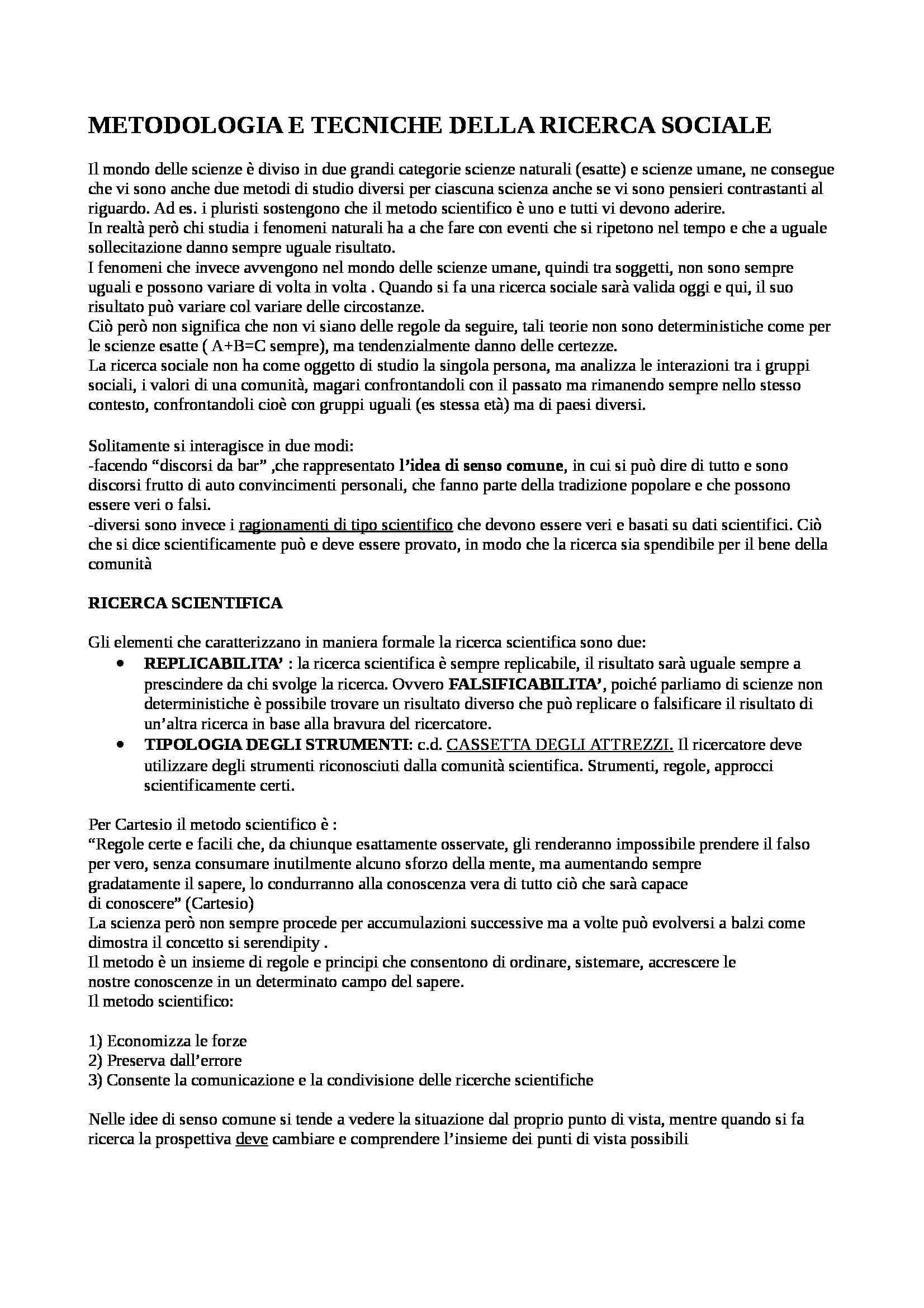 Sociologia - Appunti