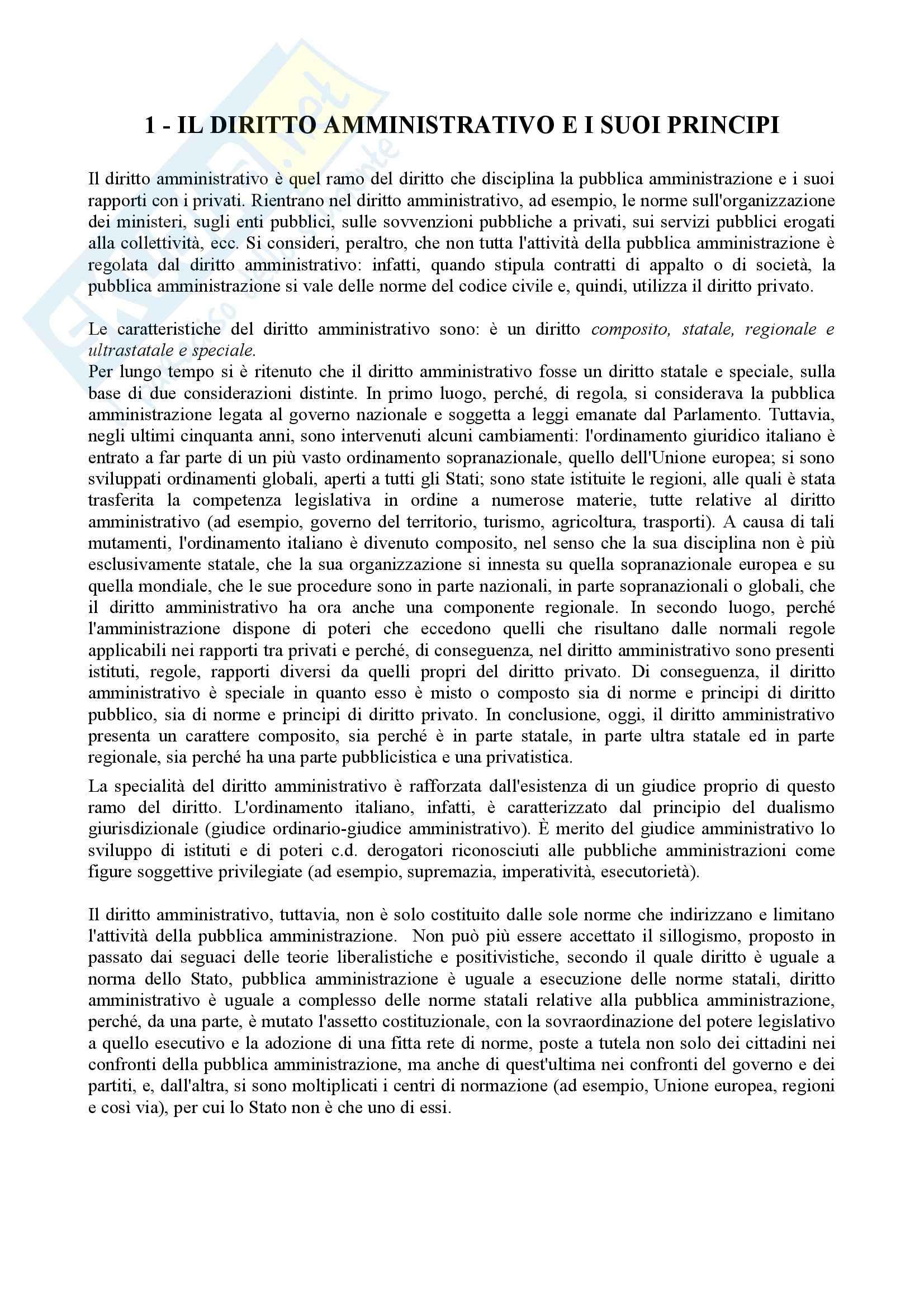 Riassunto esame Diritto Amministrativo, prof. D'Alberti, libro consigliato Manuale di Diritto Amministrativo, Cassese