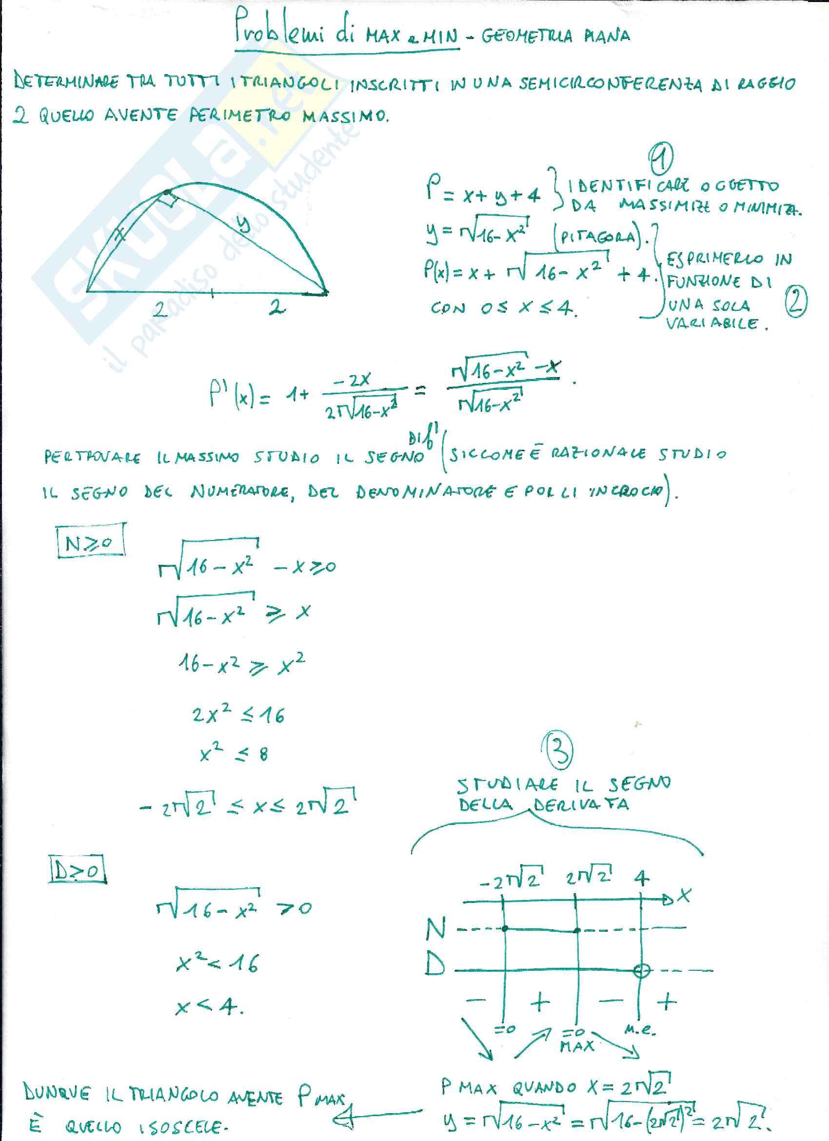Problemi di massimo e minimo - Geometria analitica e piana