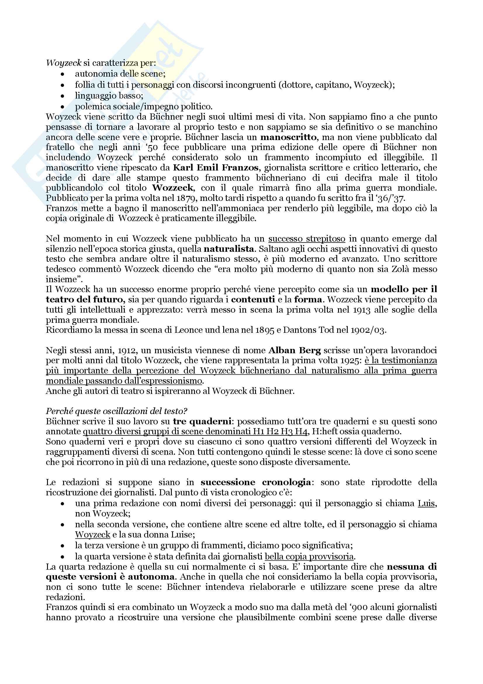 """Riassunto esame per l'esame di Letteratura Tedesca, docente Giovanna Cermelli, libro consigliato""""Woyzeck"""" di Georg Büchner"""