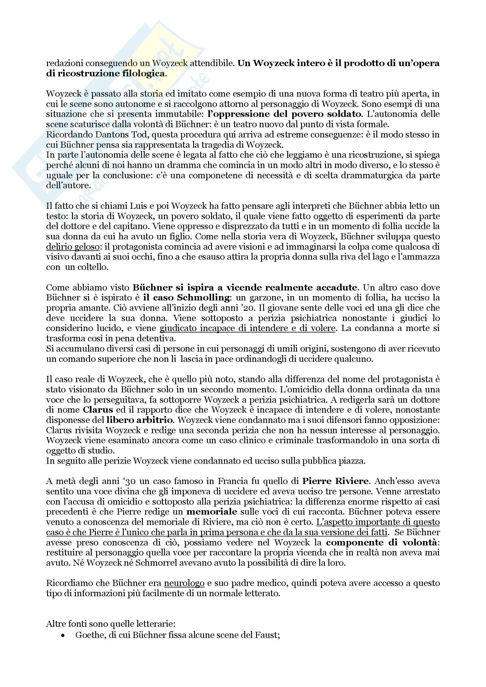 """Riassunto esame per l'esame di Letteratura Tedesca, docente Giovanna Cermelli, libro consigliato""""Woyzeck"""" di Georg Büchner Pag. 2"""