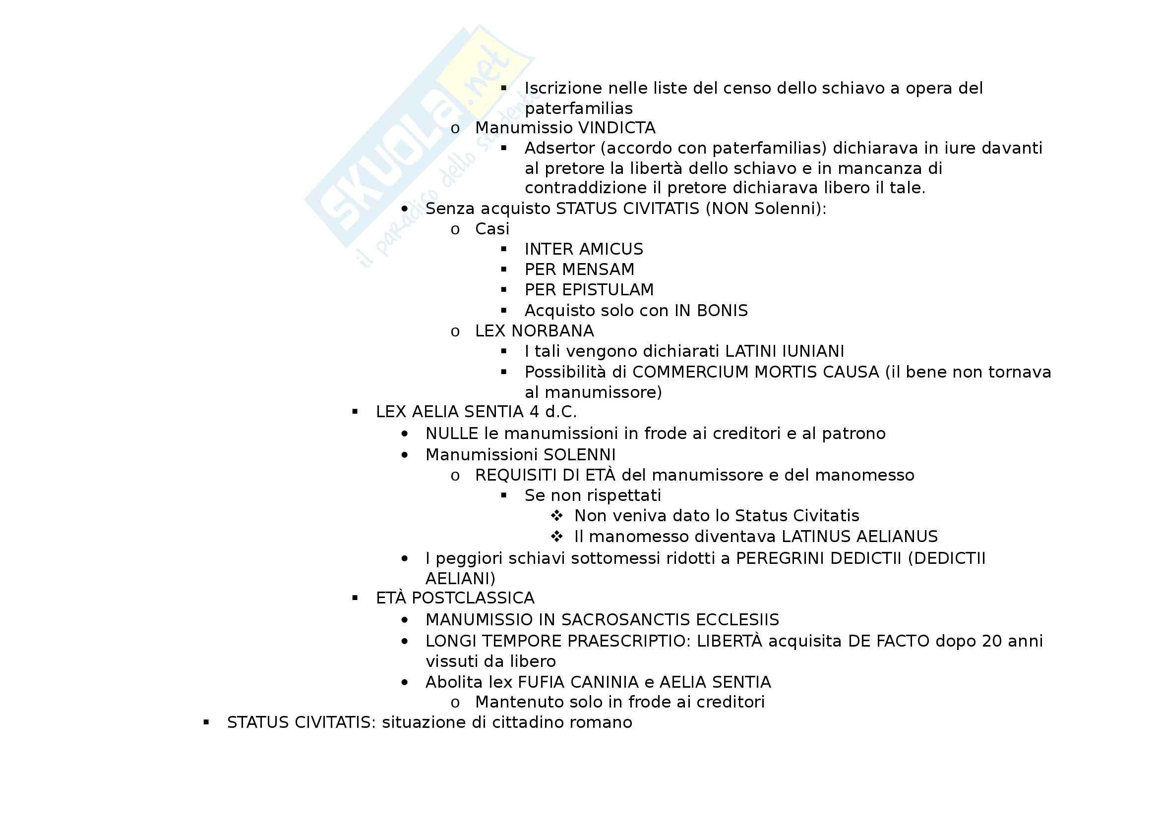 Riassunto esame Istituzioni di Diritto Romano, prof. Fargnoli, libro consigliato Diritto Romano: Lezioni Istituzionali di Gnoli e Scherillo Pag. 11