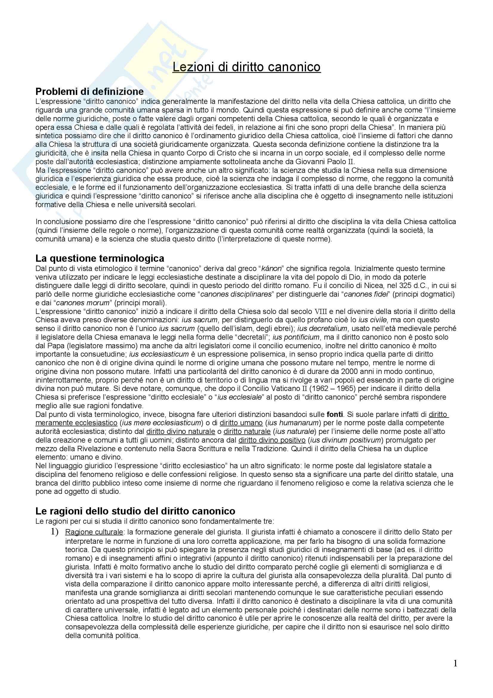 Diritto canonico - Riassunto esame