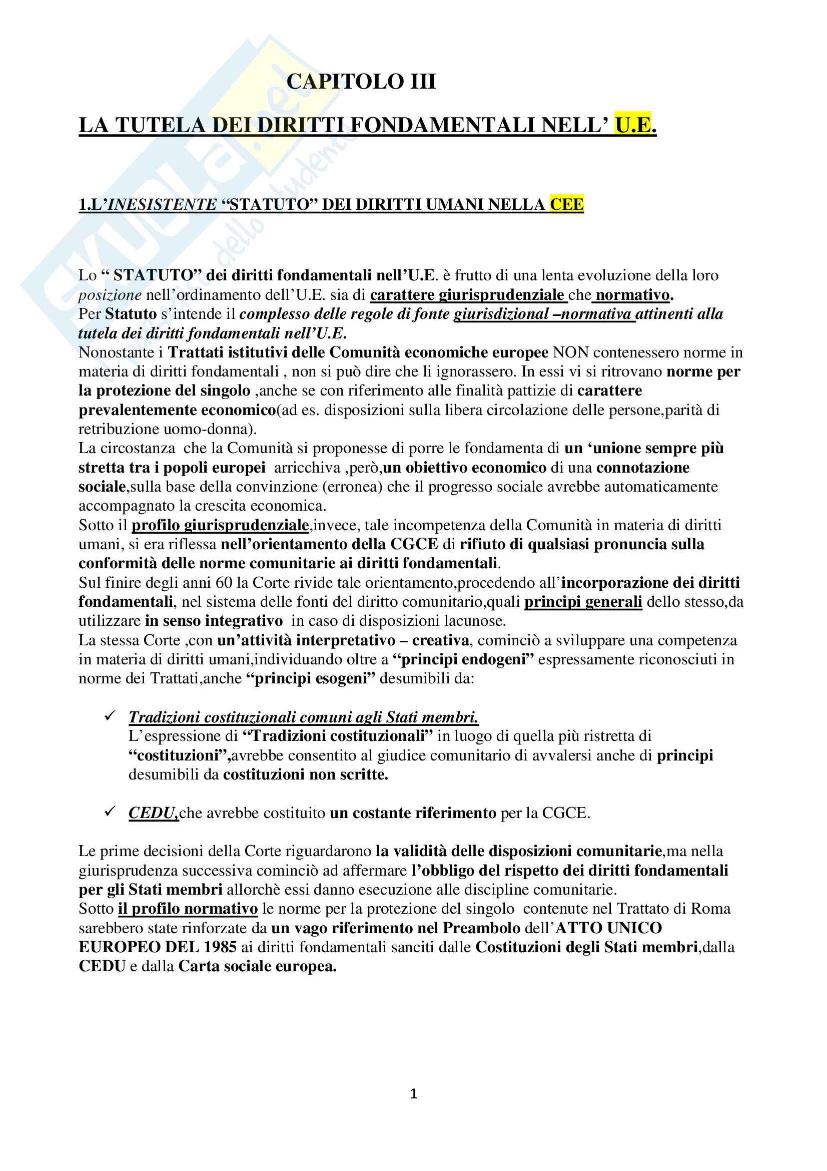 Riassunto esame Diritto dell'Unione Europea, prof. Di Stasi, libro consigliato Il sistema europeo, Di Stasi (Parte II)