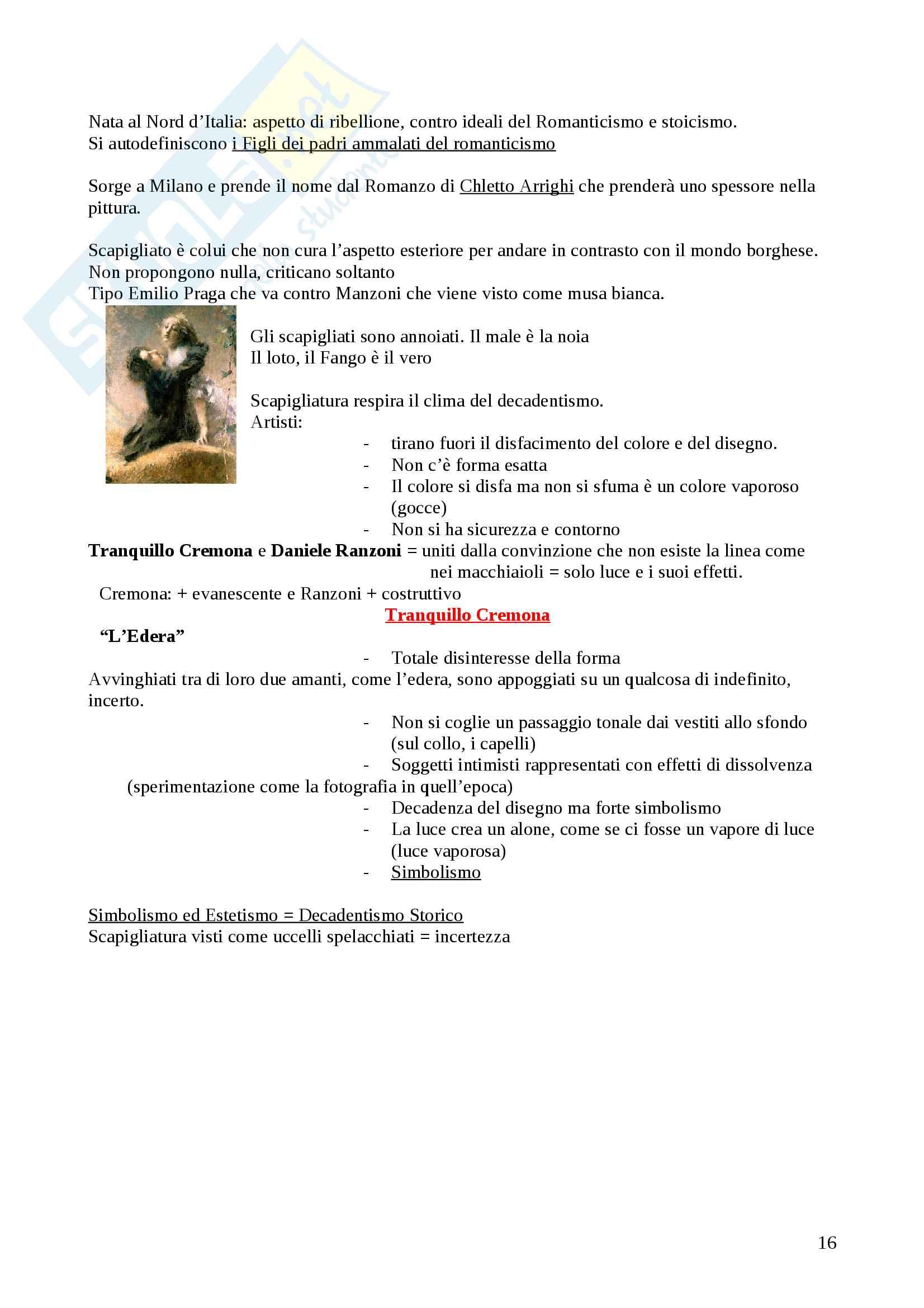 Arte - Romanticismo, Preraffaelliti, Barbizon, Realismo, Macchiaioli, Scapigliatura Pag. 16