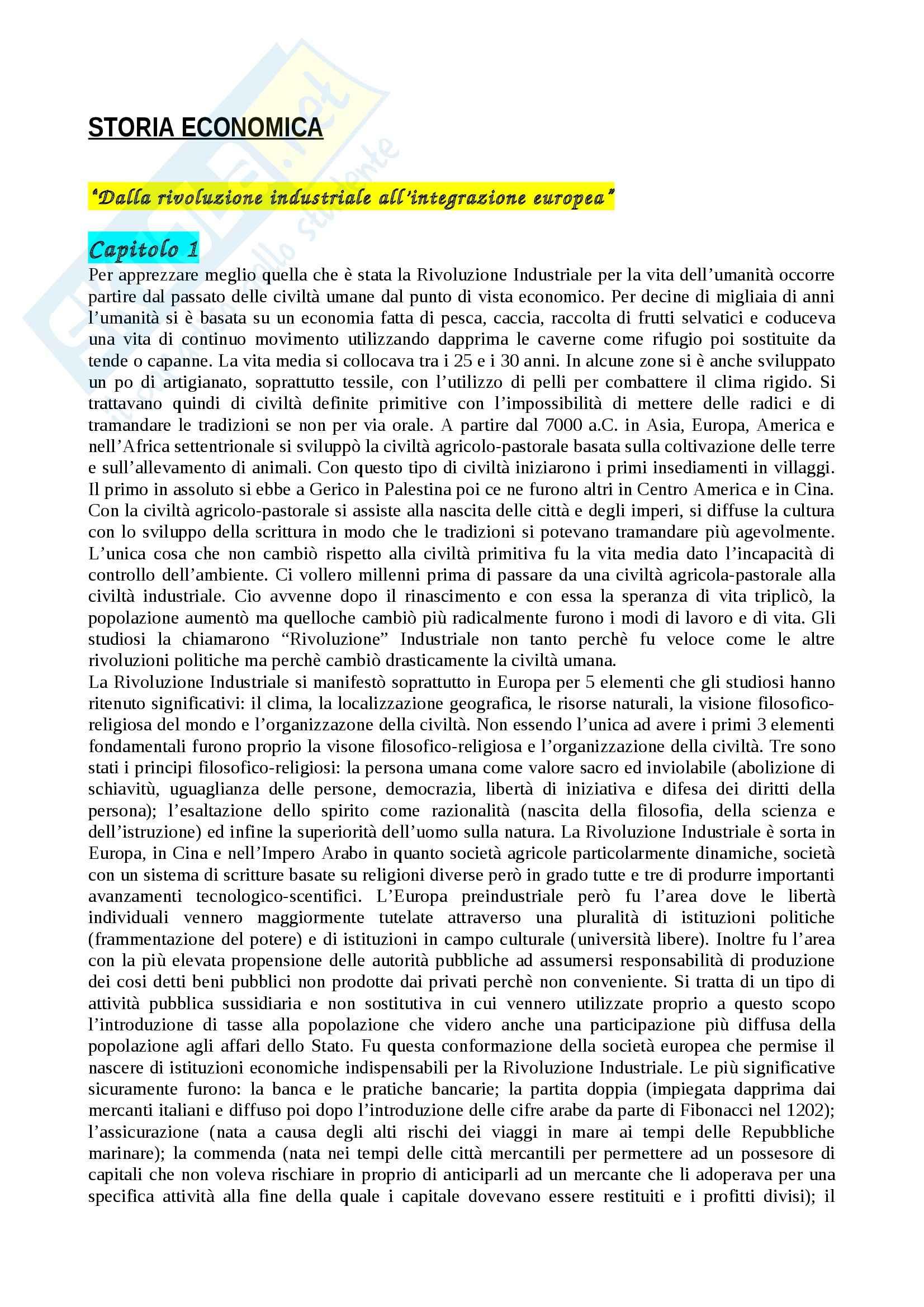 appunto G. Trezzi Storia economica