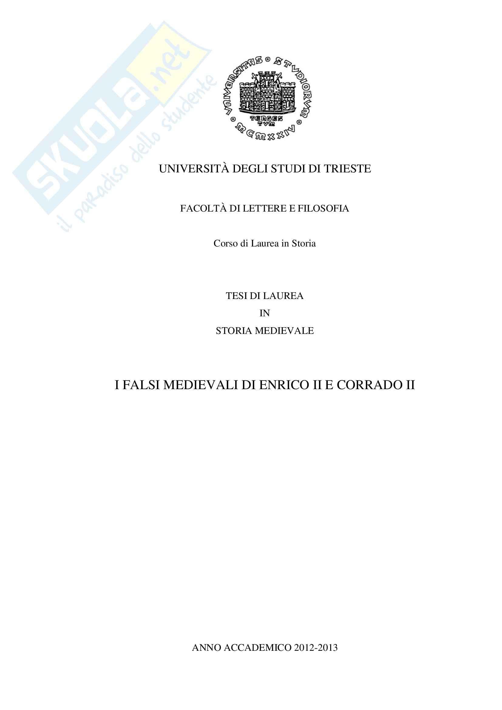 Tesi - Falsi Medievali di Enrico II e Corrado II