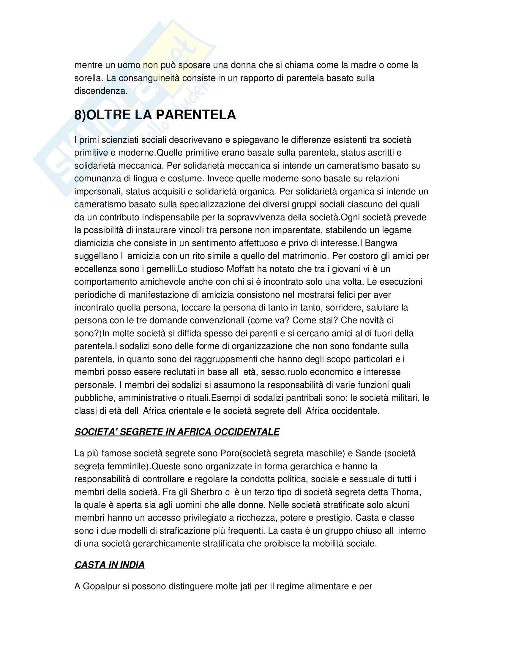Riassunto esame Antropologia culturale, prof. Bonifacio, libro consigliato Antropologia culturale Schultz, Lavenda Pag. 16