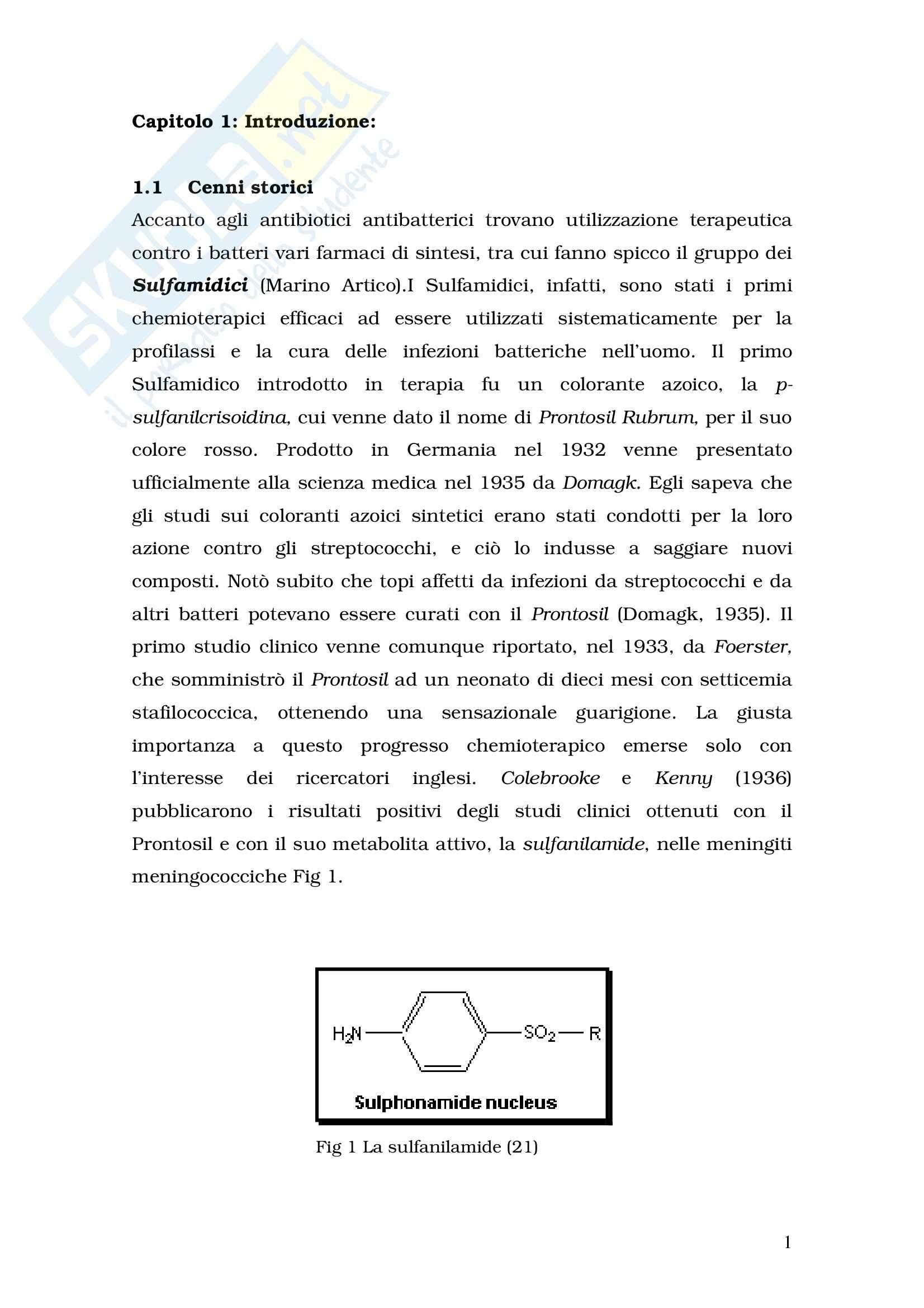 Chimica farmaceutica - sulfamidici