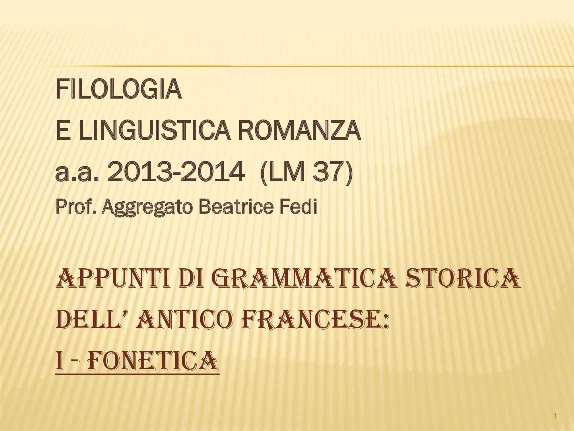 Fonetica, grammatica storica dell'antico francese