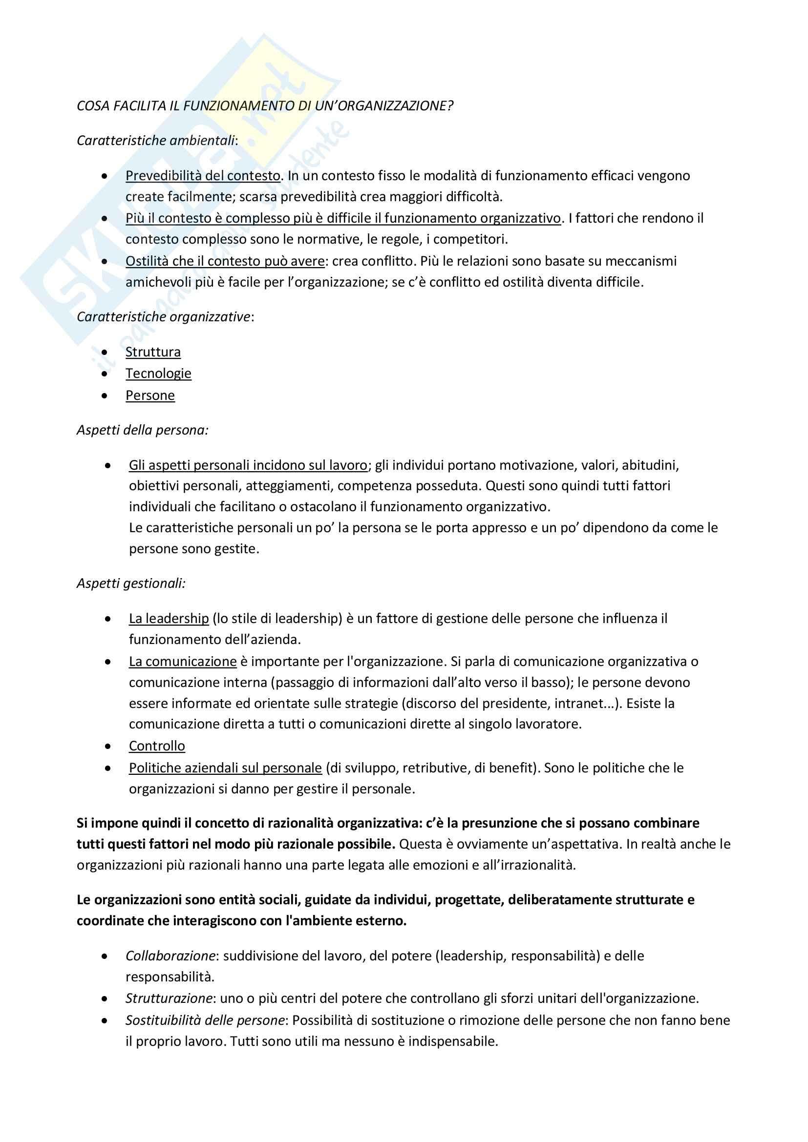Organizzazioni: Appunti di Psicologia delle organizzazioni Pag. 2