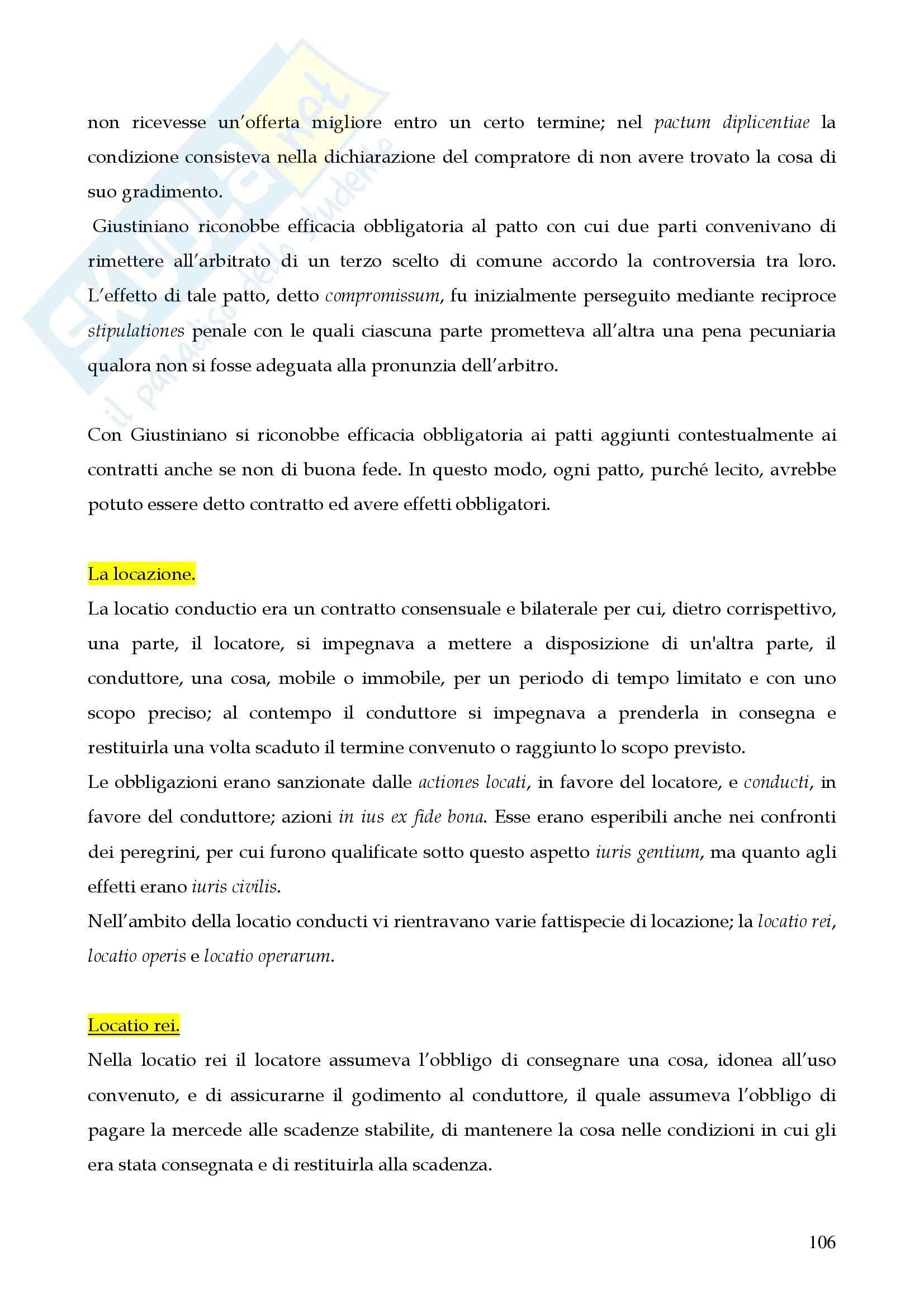 Riassunto esame istituzioni di diritto romano, prof. Miglietta, libro consigliato Istituzioni di diritto romano, Talamanca Pag. 106