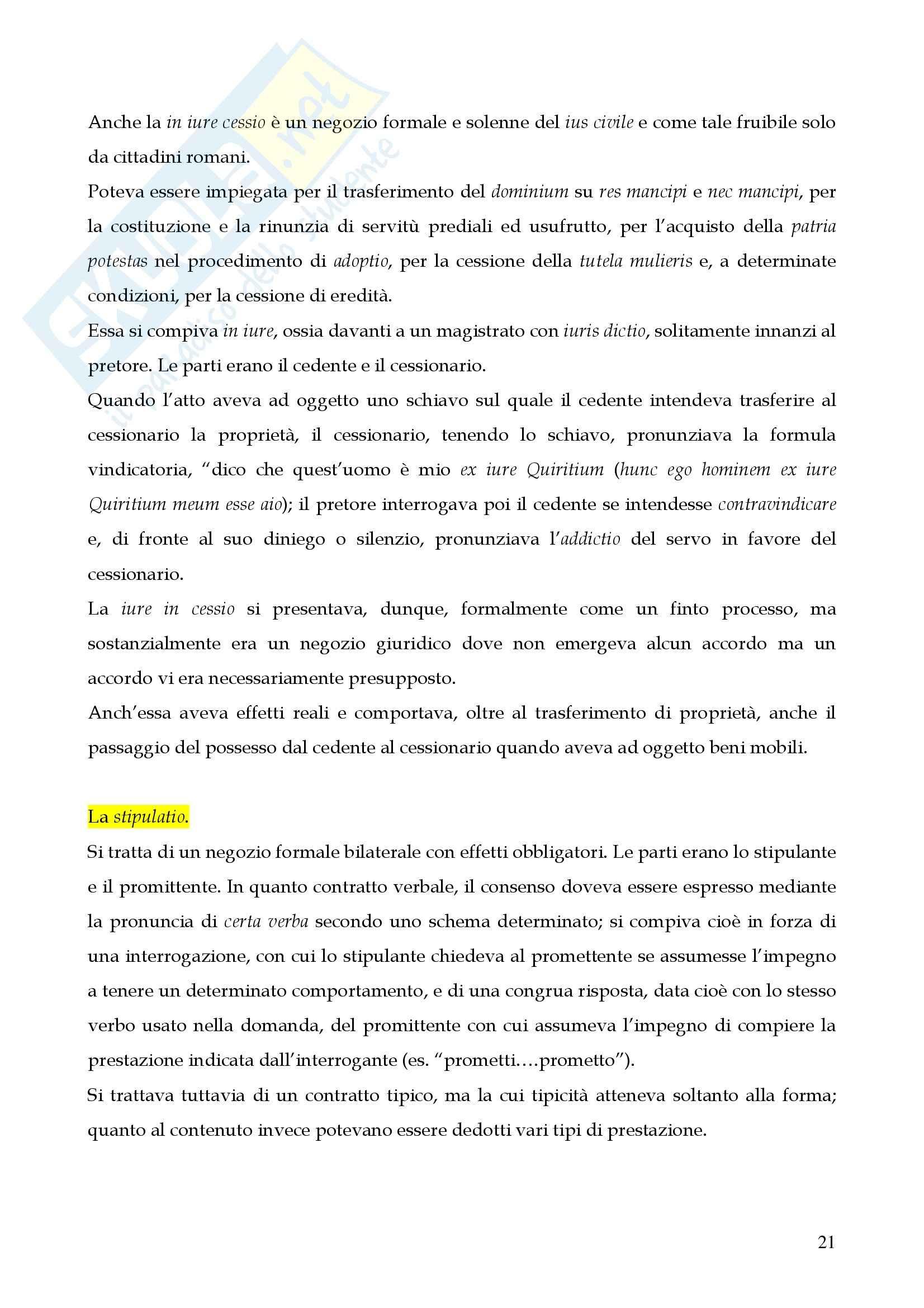 Riassunto esame istituzioni di diritto romano, prof. Miglietta, libro consigliato Istituzioni di diritto romano, Talamanca Pag. 21
