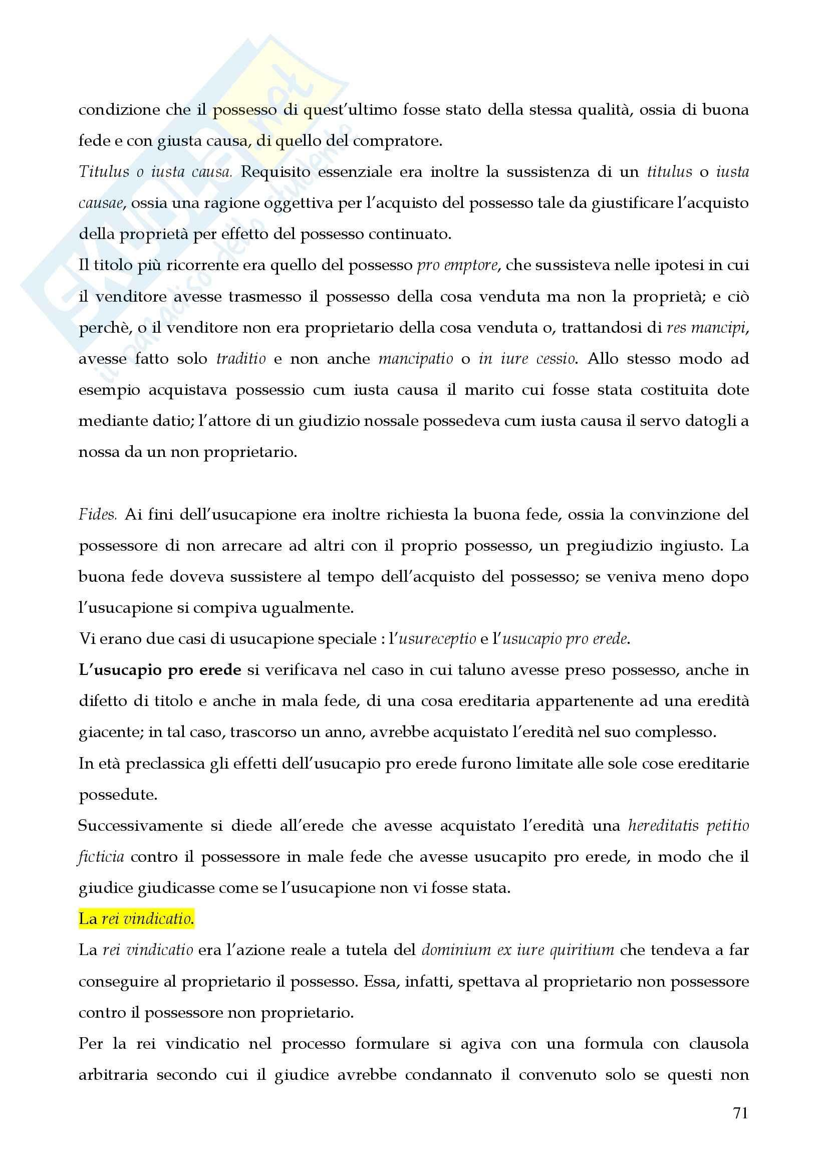 Riassunto esame istituzioni di diritto romano, prof. Miglietta, libro consigliato Istituzioni di diritto romano, Talamanca Pag. 71