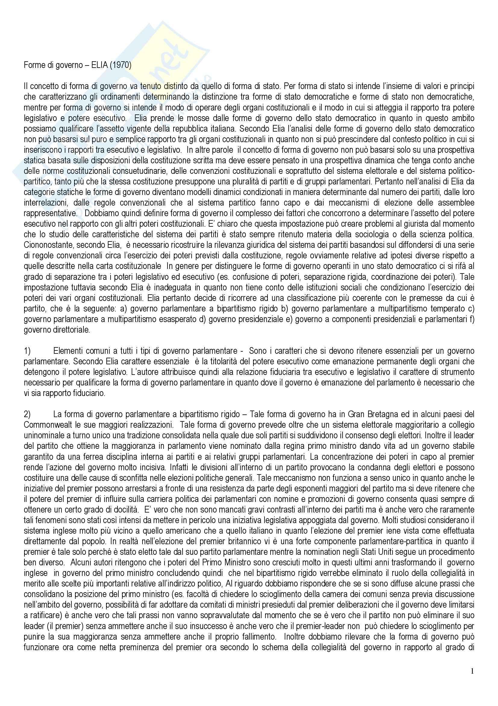 Diritto costituzionale - le forme di governo - Appunti