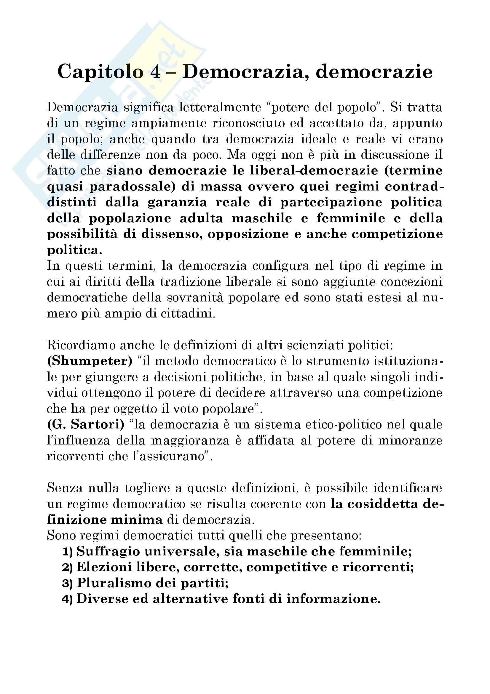 Manuale di scienza politica a cura di Cotta, della Porta e Morlino - capitolo 4
