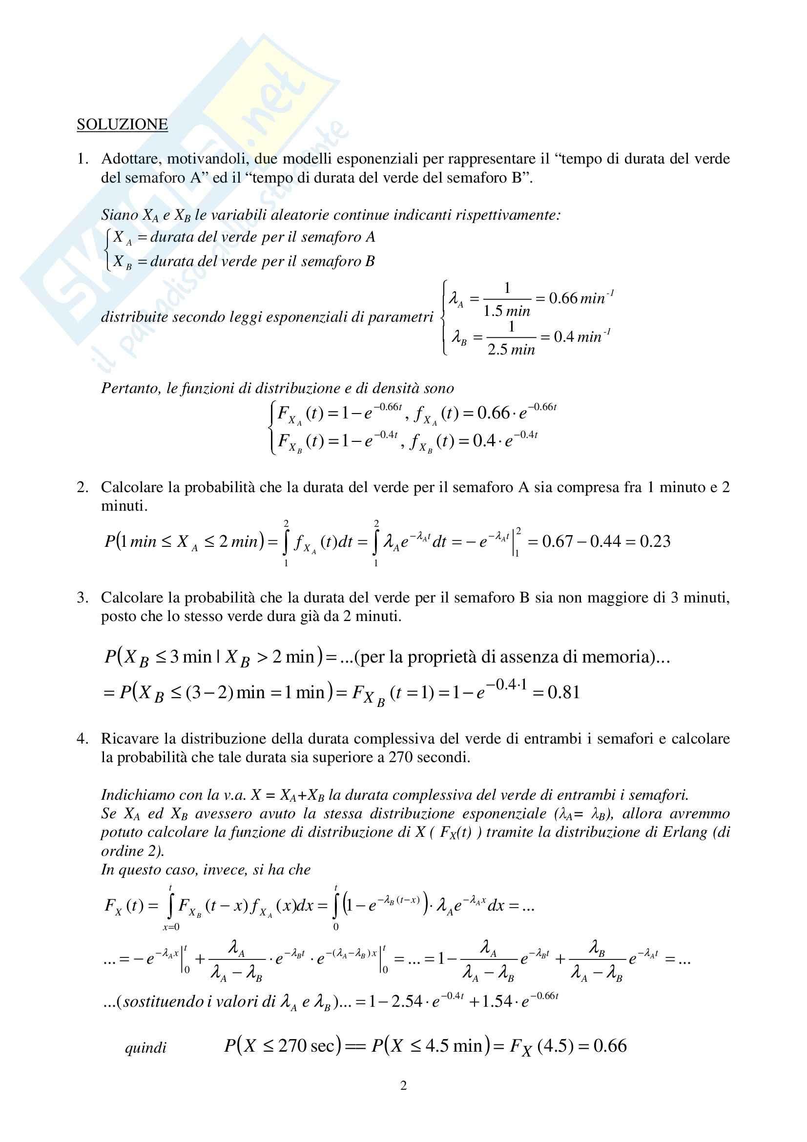 Analisi probabilistica e teoria delle code - esercizi Pag. 2
