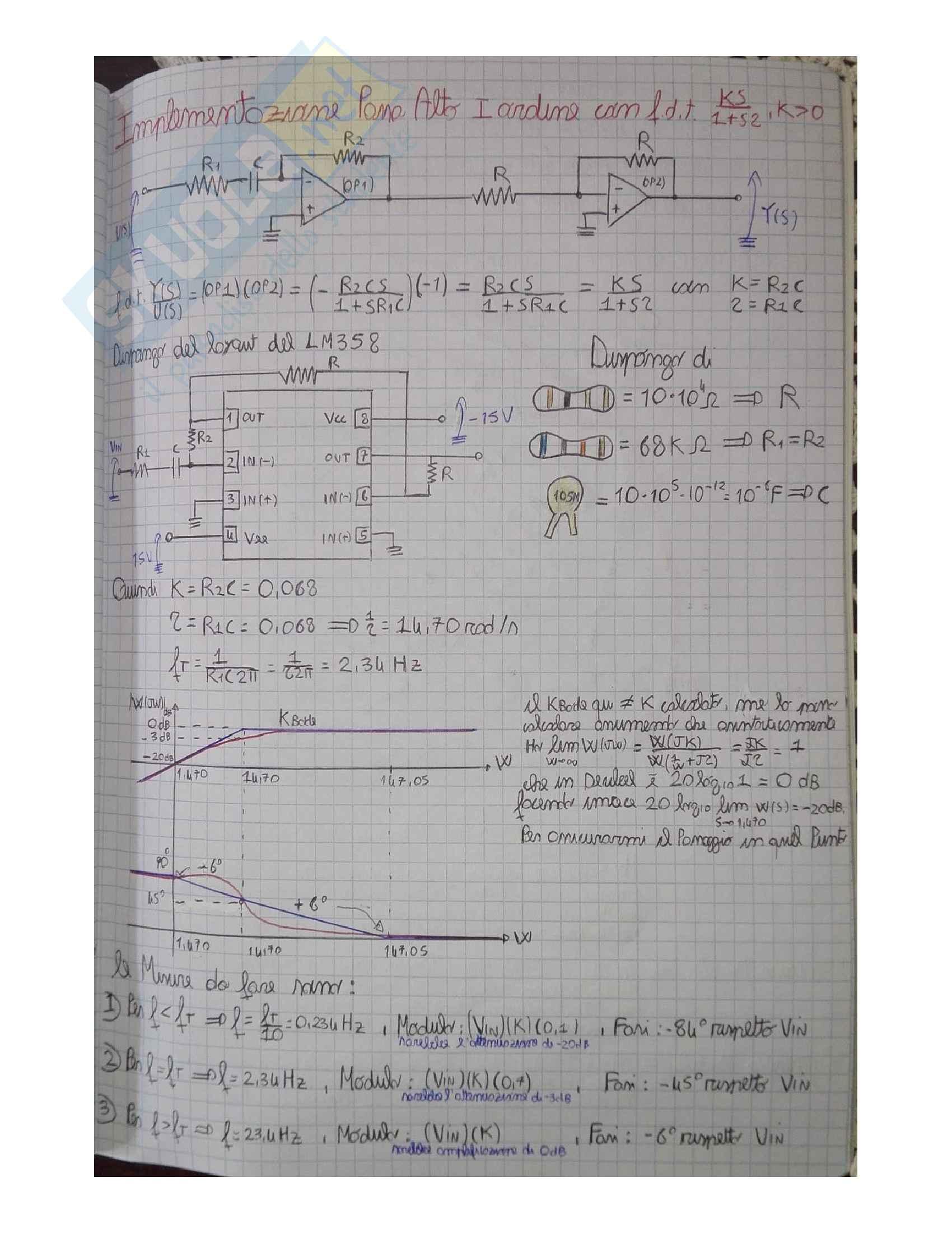 Laboratorio Automatica Matlab + Progetto filtri attivi con gli operazionali Pag. 106