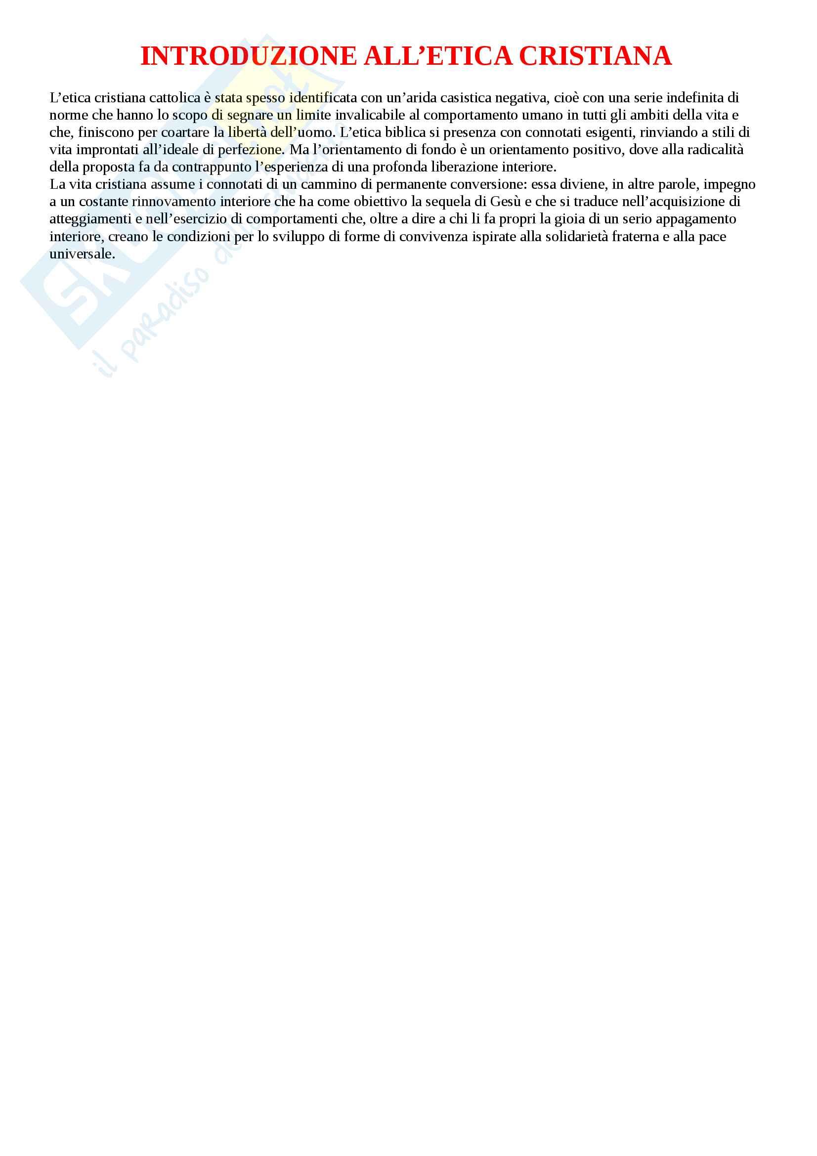 """Riassunto esame Teologia 3, prof. Ronca, libro consigliato """"introduzione all'etica cristiana"""" di G. Piana"""