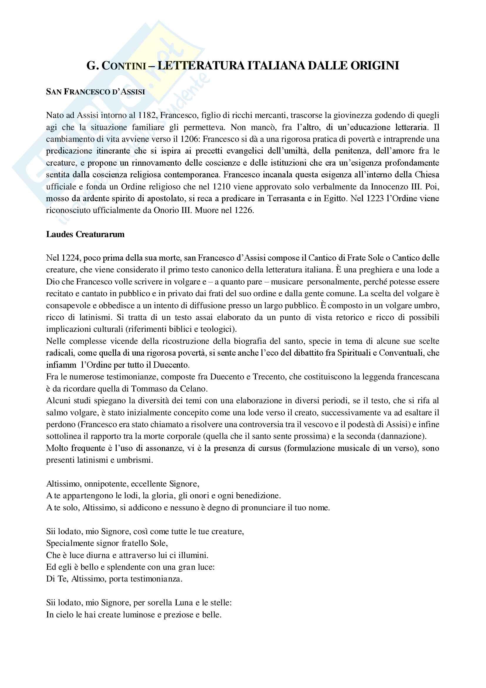 Riassunto Letteratura italiana I - Prof. Frasso, libro consigliato Letteratura italiana dalle origini, Contini