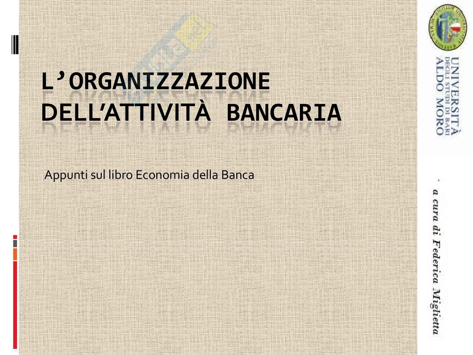 Economia degli intermediari finanziari - attività bancaria