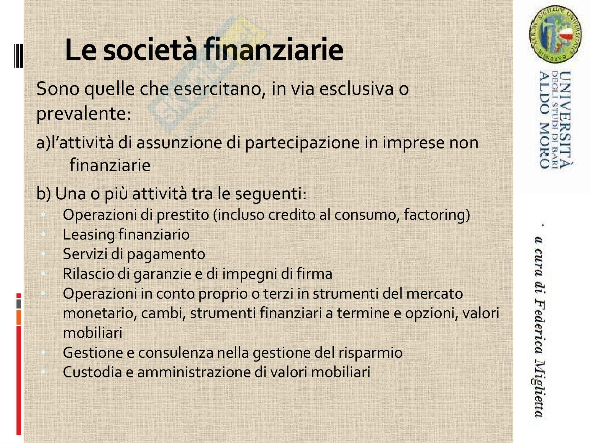 Economia degli intermediari finanziari - attività bancaria Pag. 11