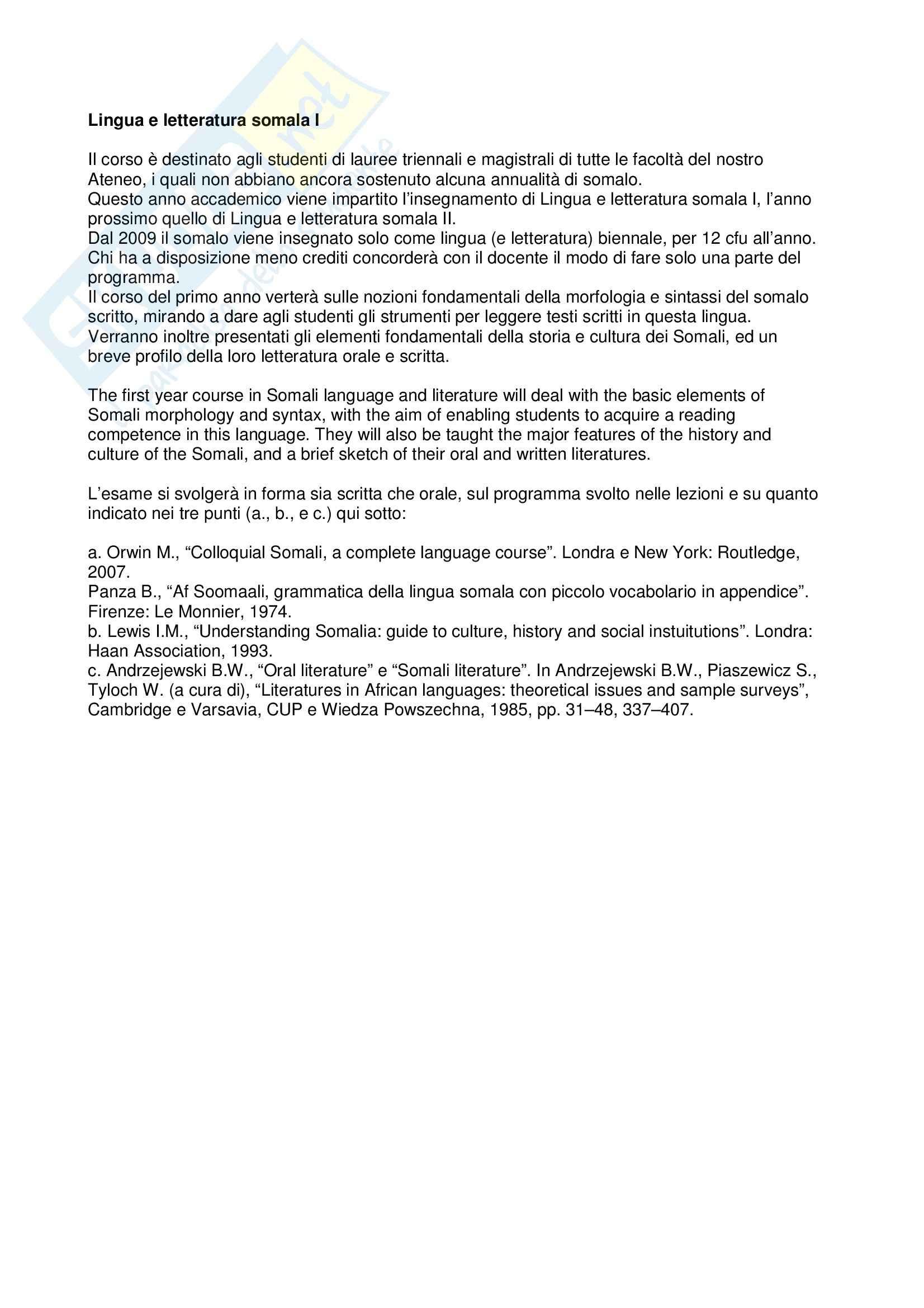 dispensa G. Banti Lingua e letteratura somala I