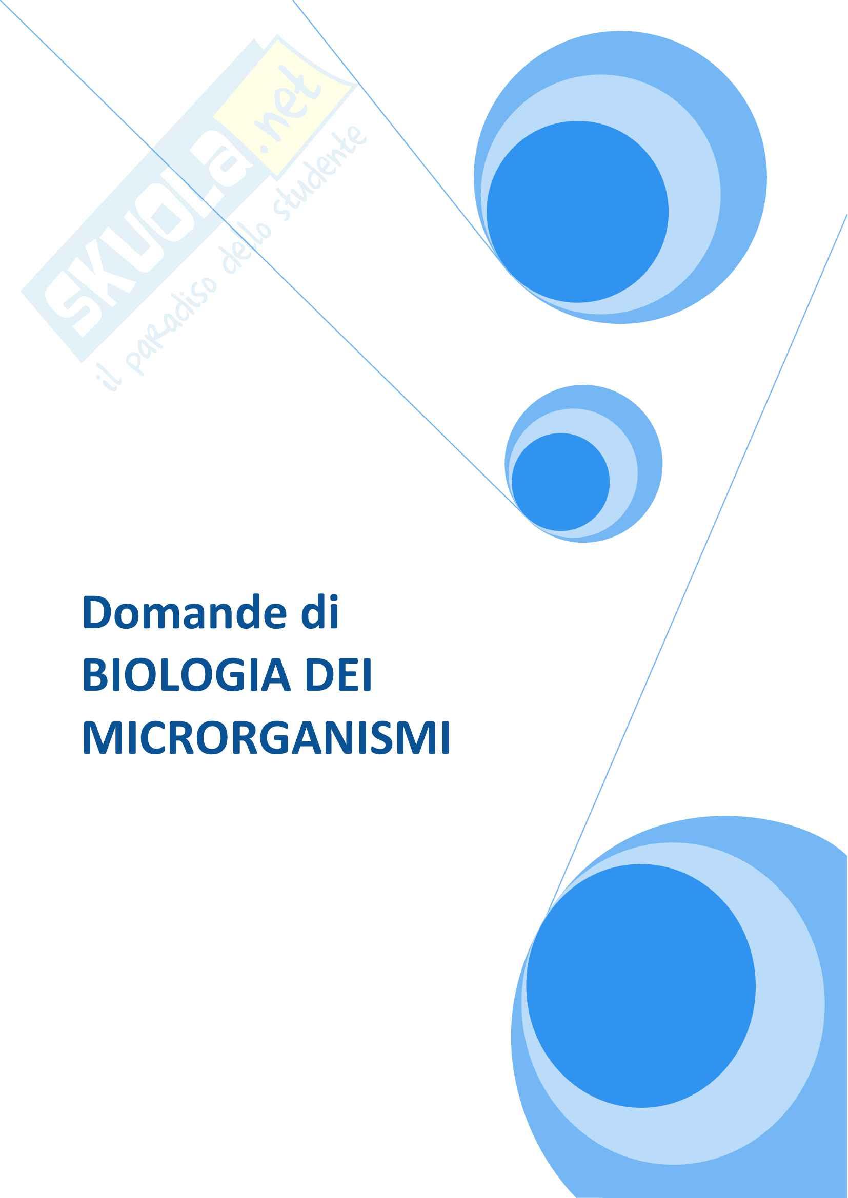 Domande e risposte d'esame di Microbiologia - Corso di Biologia dei Microrganismi