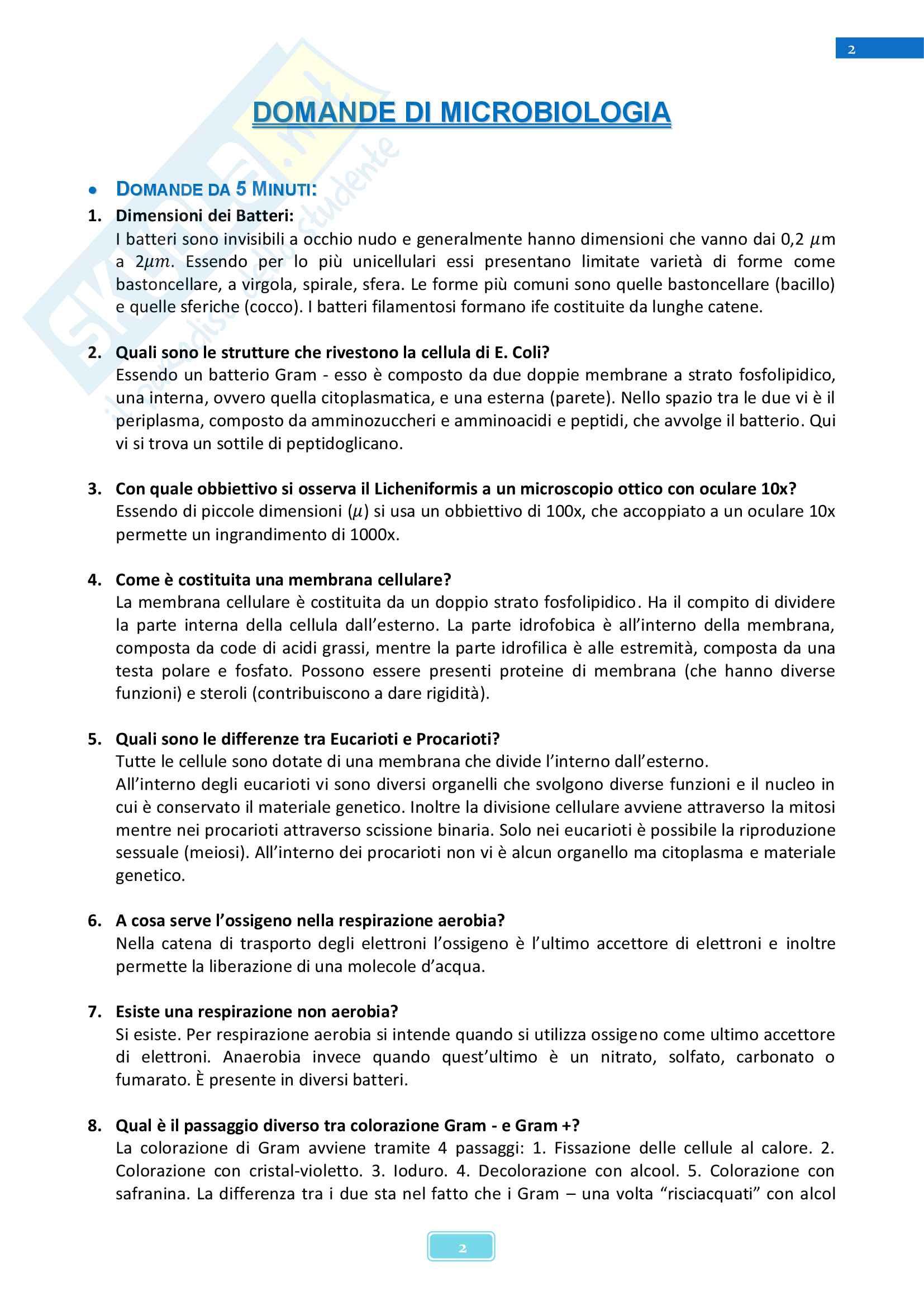 Domande e risposte d'esame di Microbiologia - Corso di Biologia dei Microrganismi Pag. 2