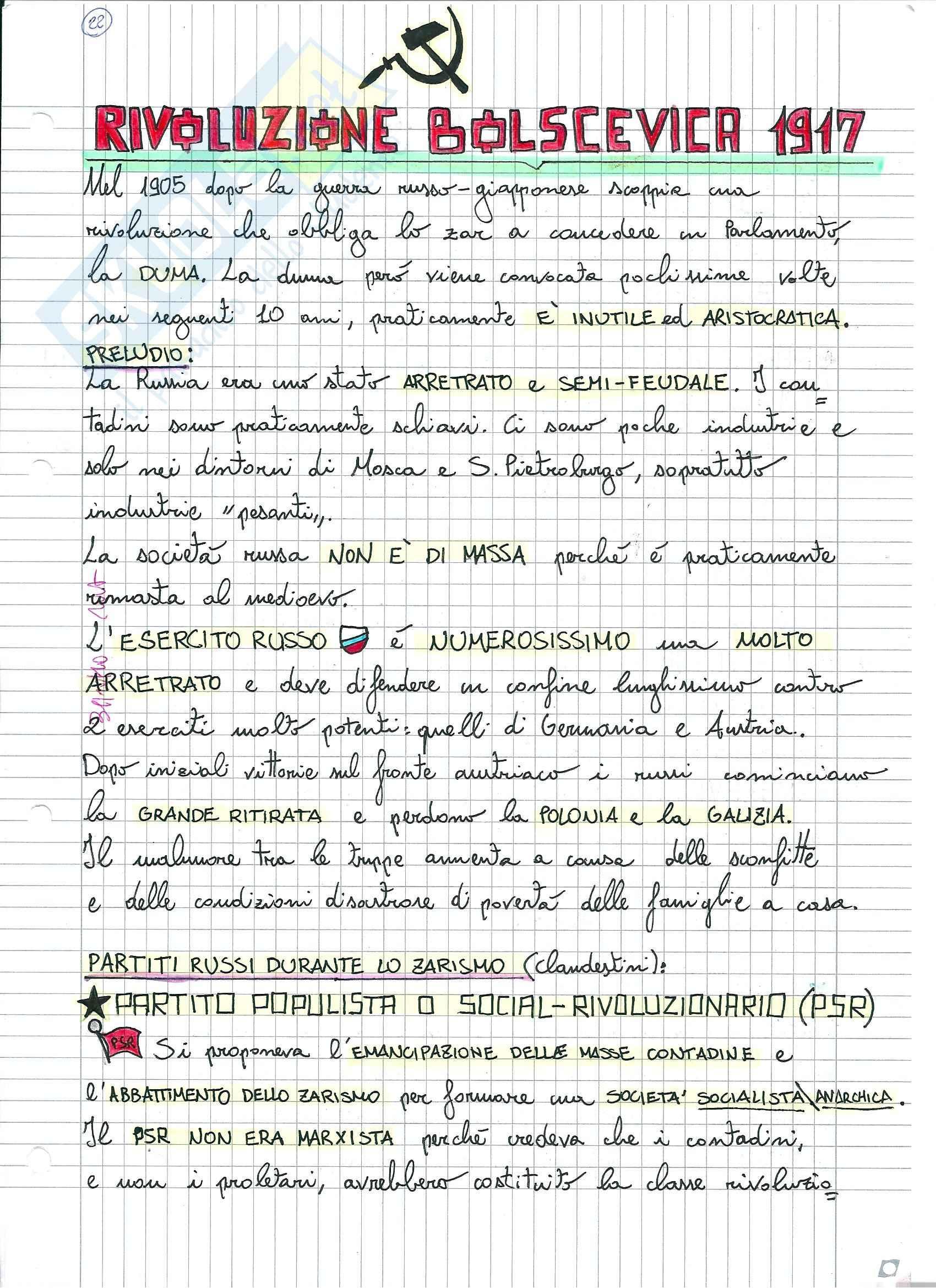 appunto D. Saresella Storia contemporanea