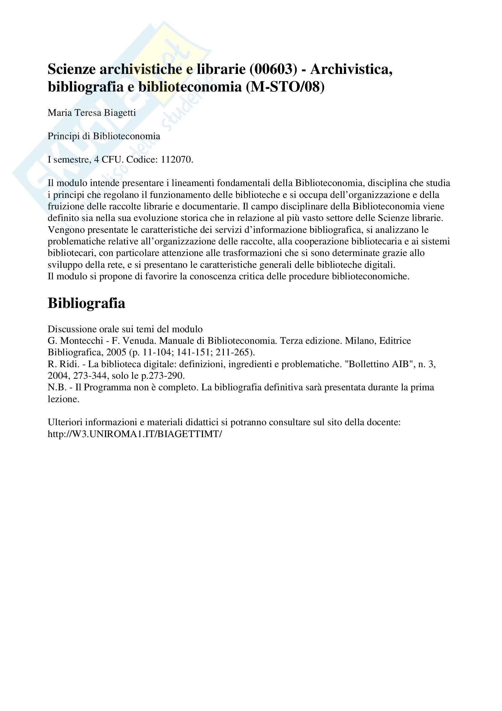 Biblioteconomia - Principi