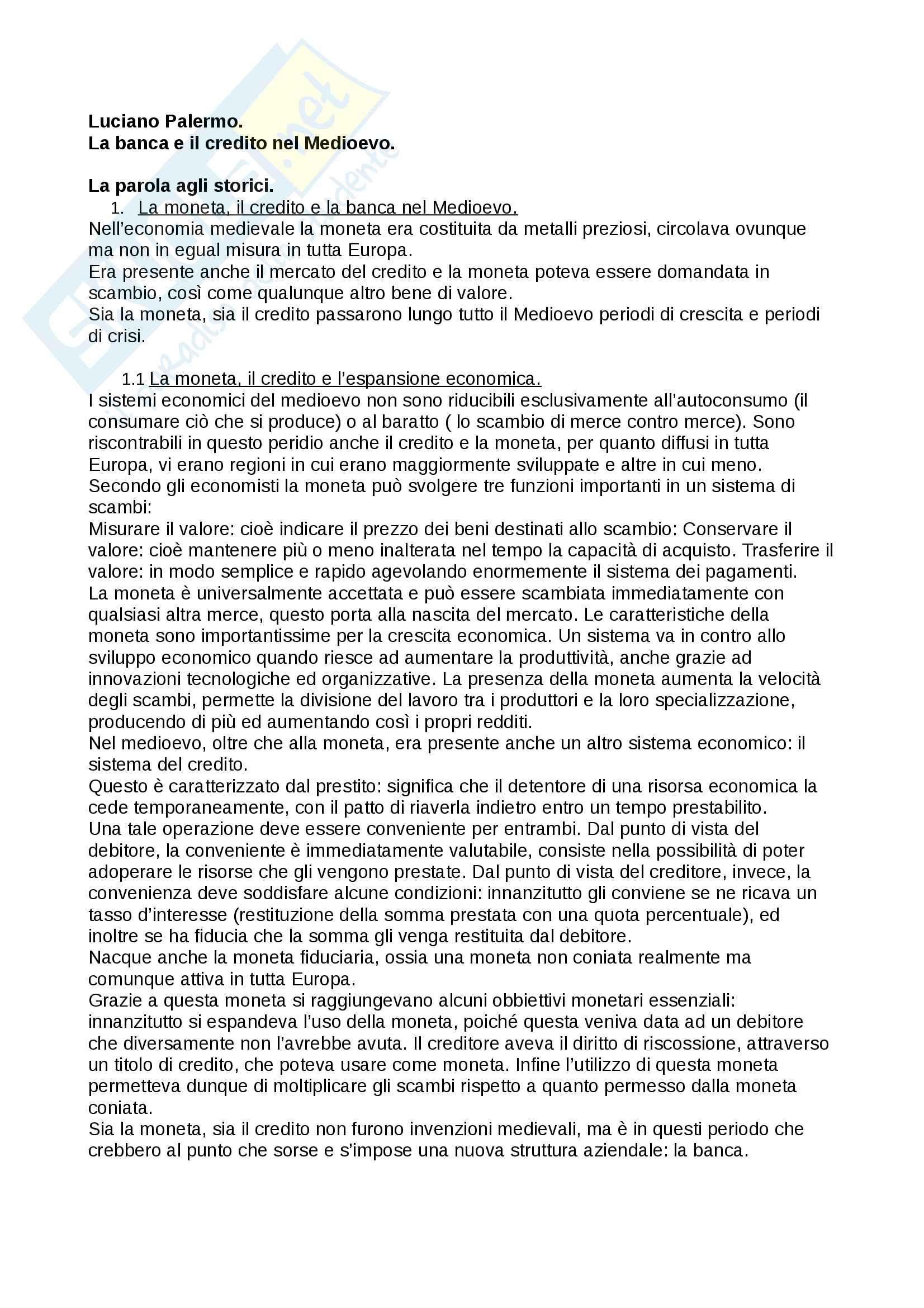 """Riassunto esame storia medievale,prof. Francesco Senatore, libro consigliato """"la banca e il credito nel medioevo"""", Palermo."""
