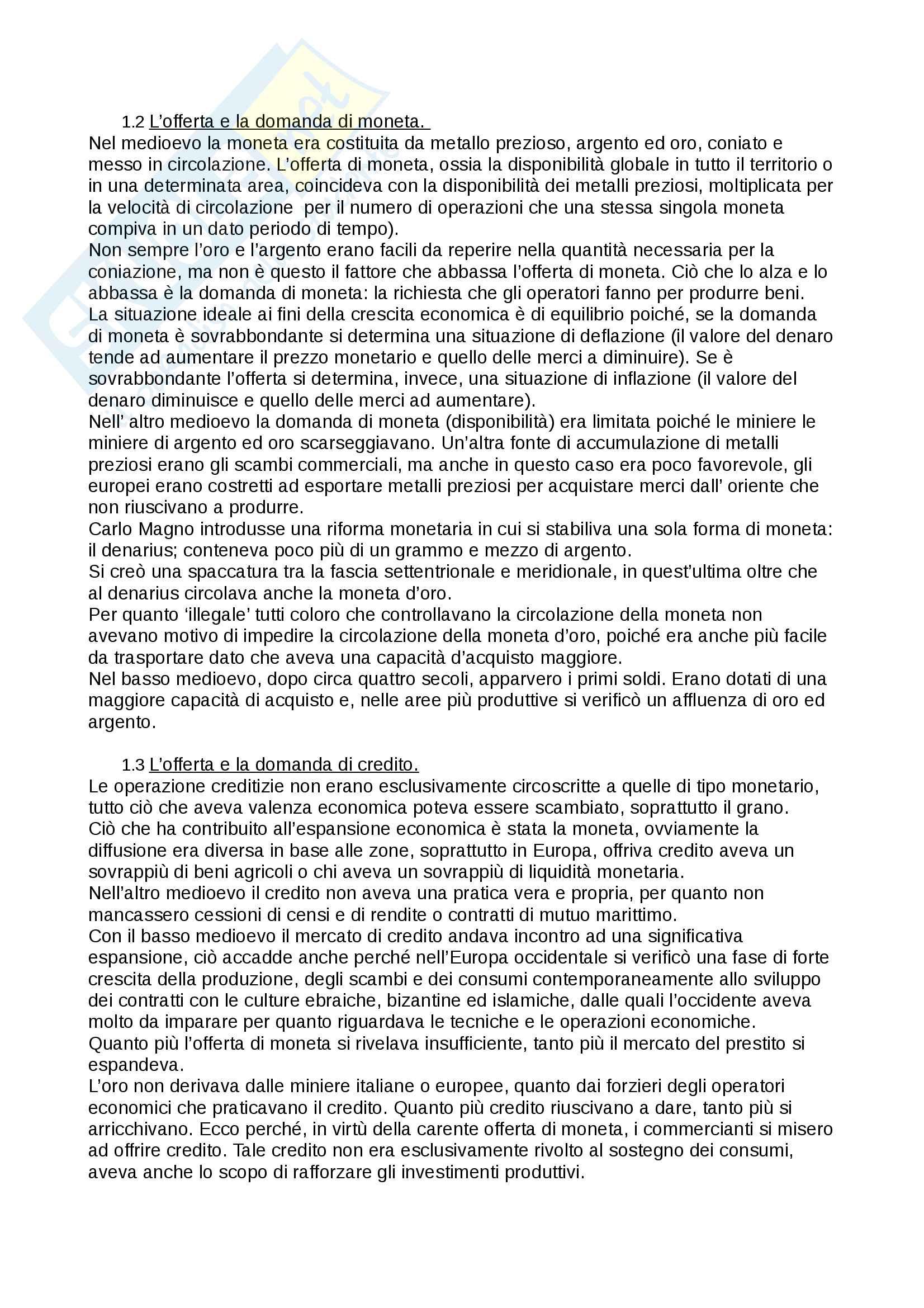 """Riassunto esame storia medievale,prof. Francesco Senatore, libro consigliato """"la banca e il credito nel medioevo"""", Palermo. Pag. 2"""