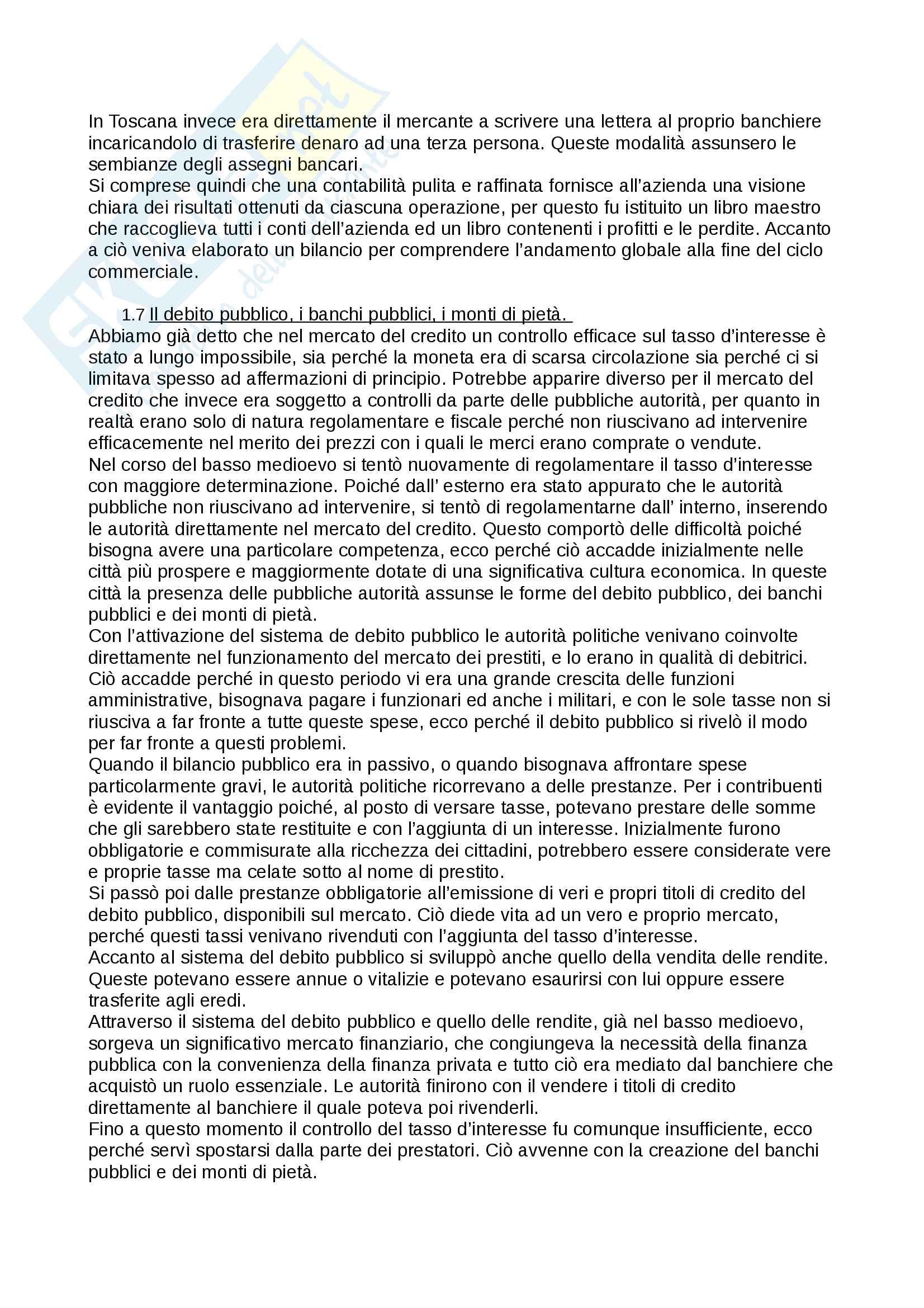 """Riassunto esame storia medievale,prof. Francesco Senatore, libro consigliato """"la banca e il credito nel medioevo"""", Palermo. Pag. 6"""