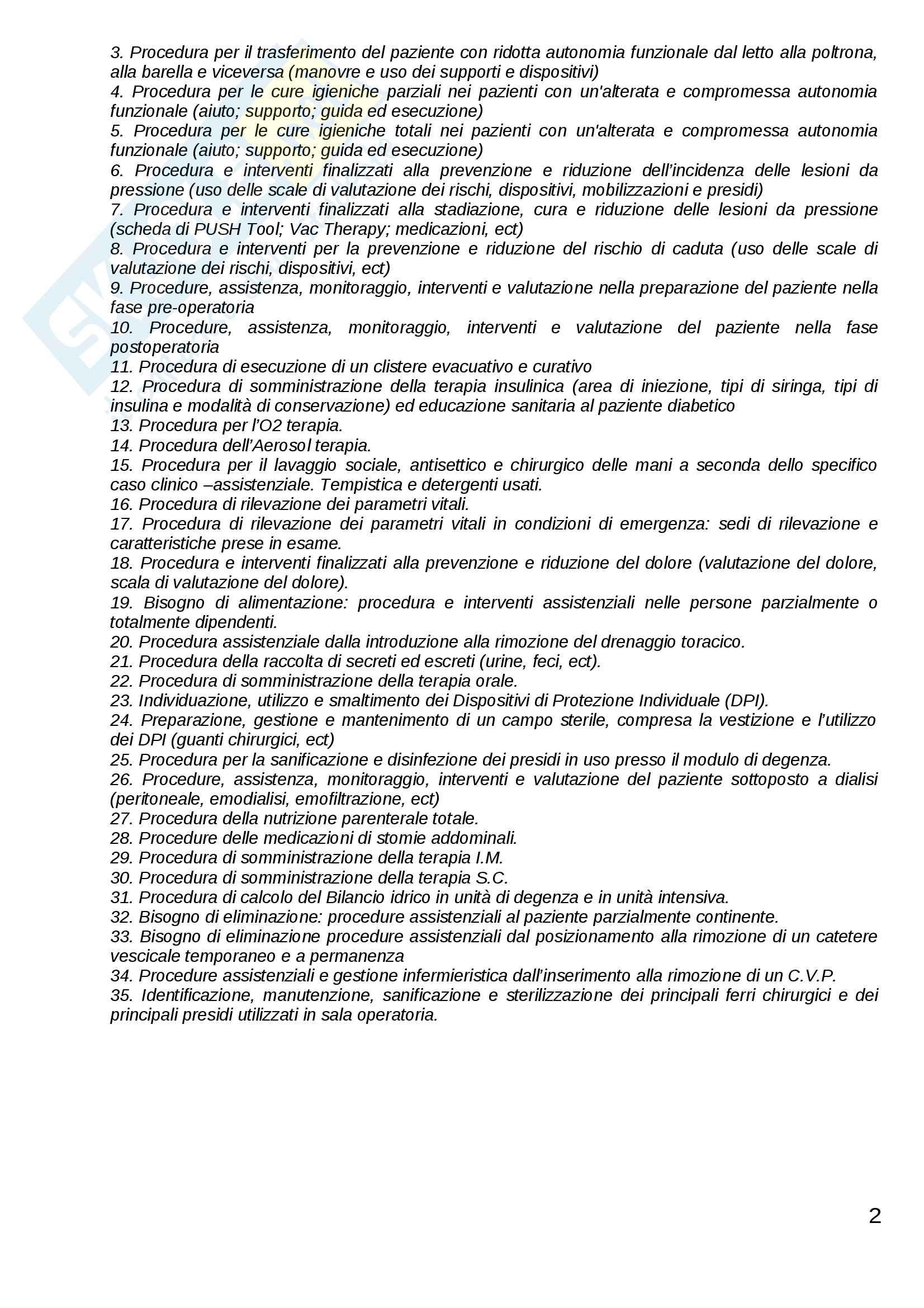 ESAME DI STATO: Corso di scienze infermieristiche Pag. 2