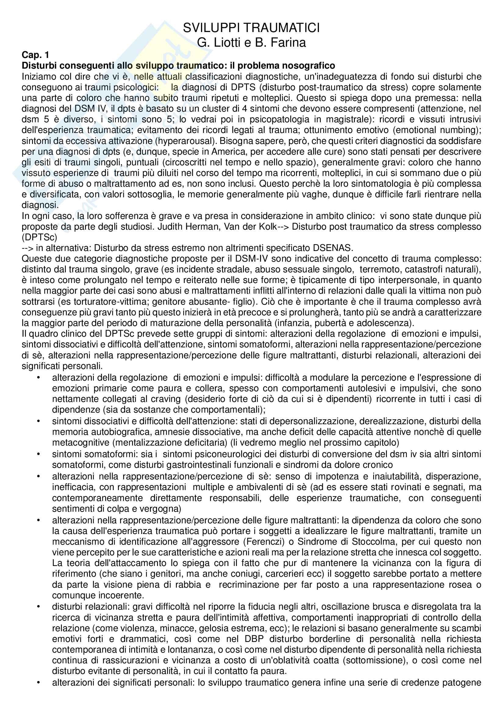 Riassunto esame Psicologia Clinica, prof. Gandino, libro consigliato Sviluppi traumatici, Liotti