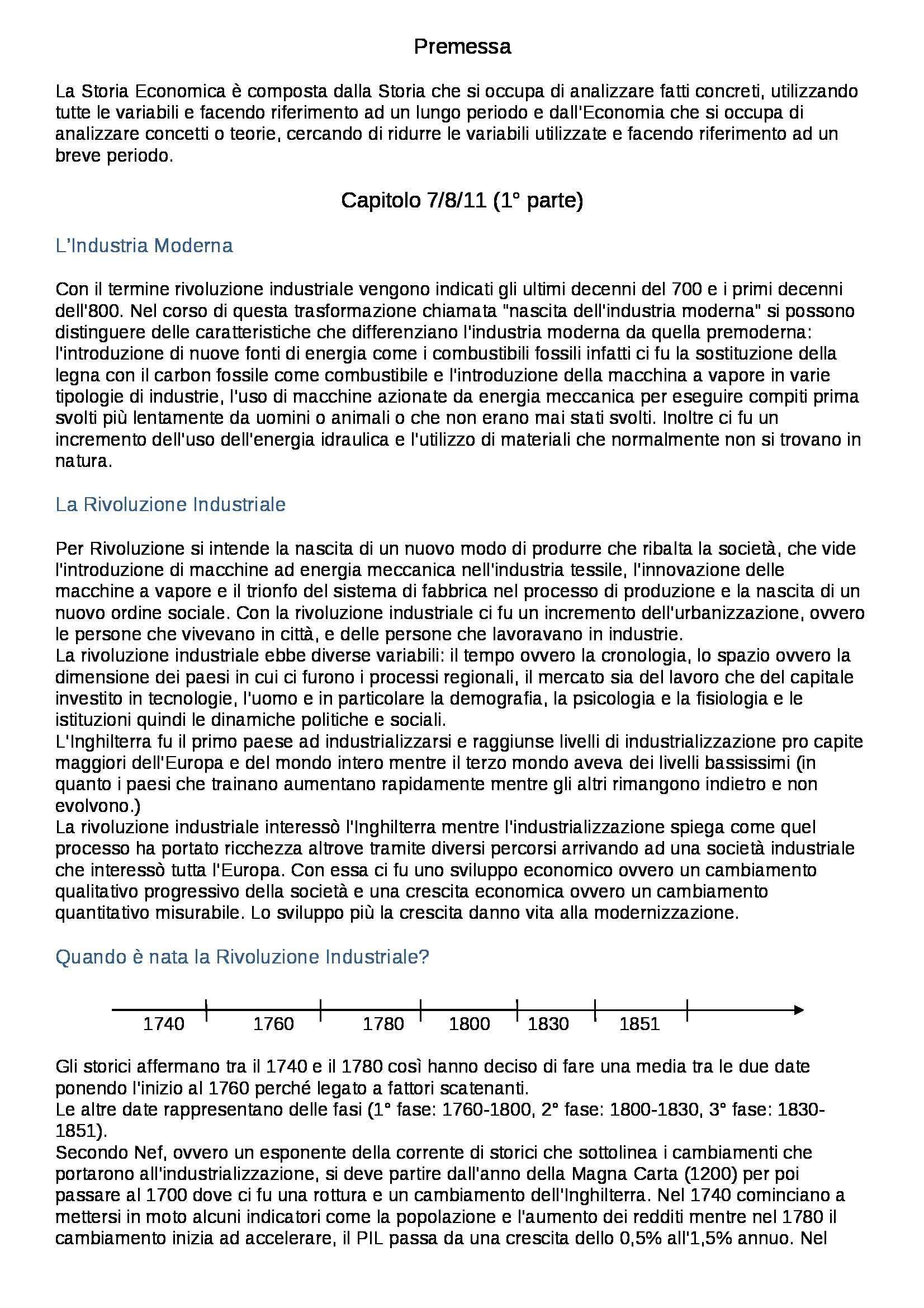 Riassunto esame Storia Economia - parte prima, prof. Carera