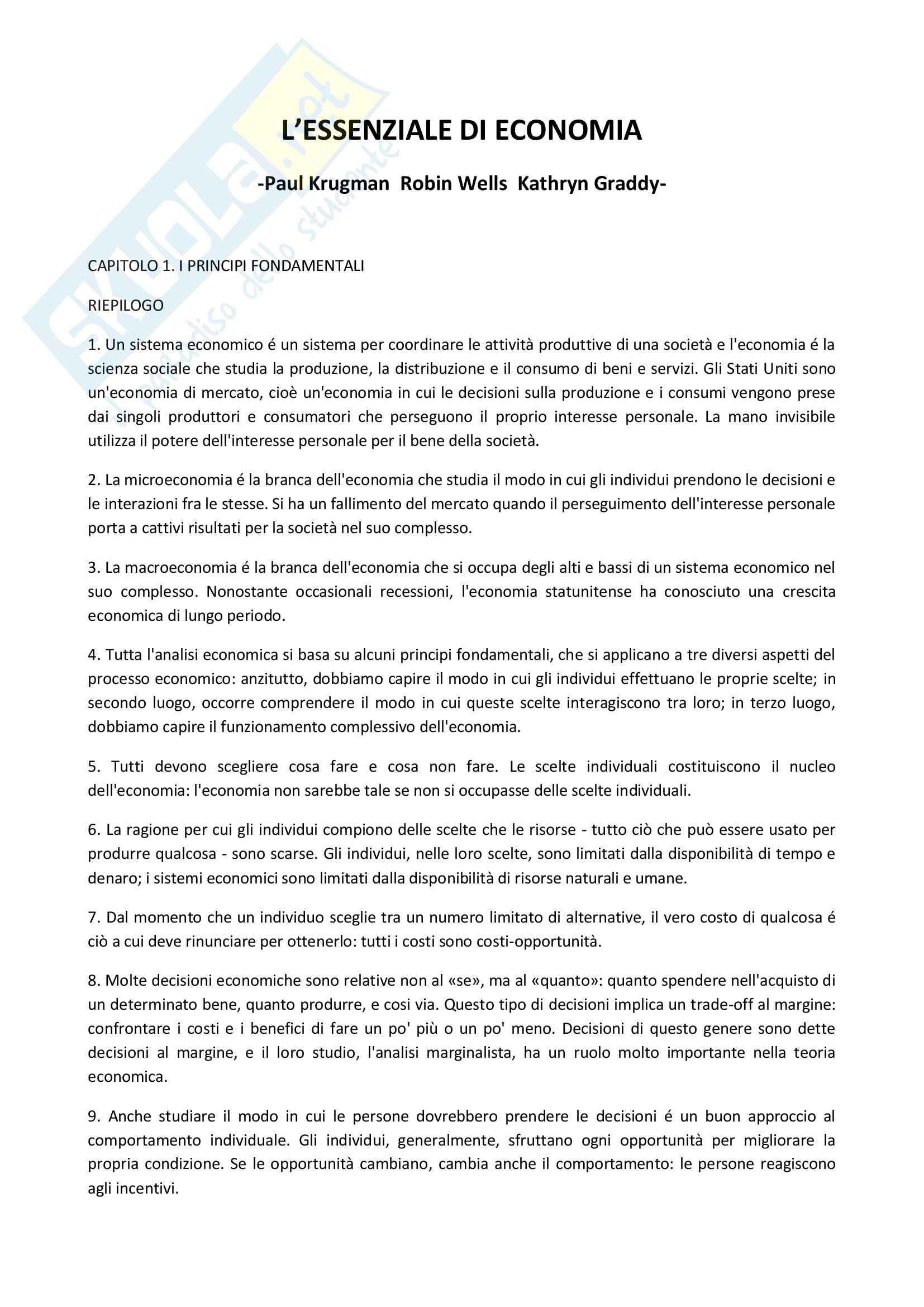 Riassunto e Parole Chiave Economia Politica, prof. Barbarito, libro consigliato L'Essenziale di Economia, P. Krugman