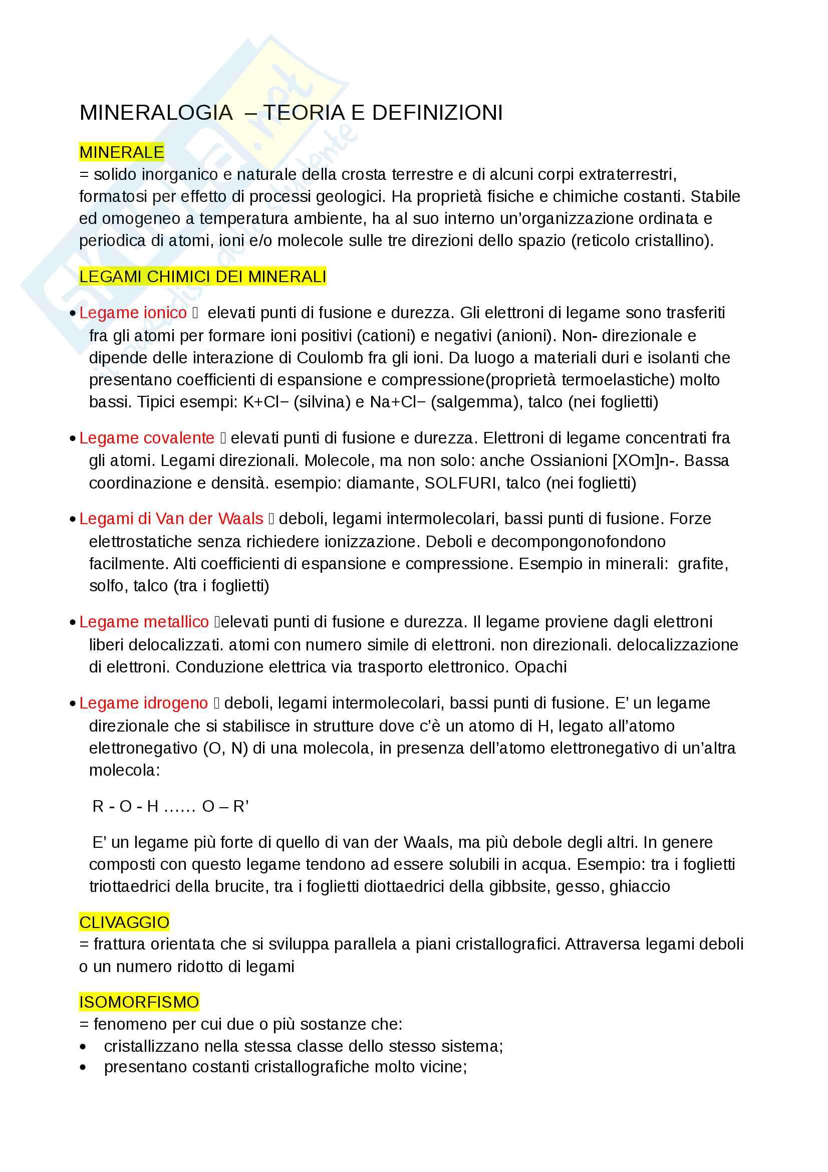 Teoria e definizioni - Mineralogia