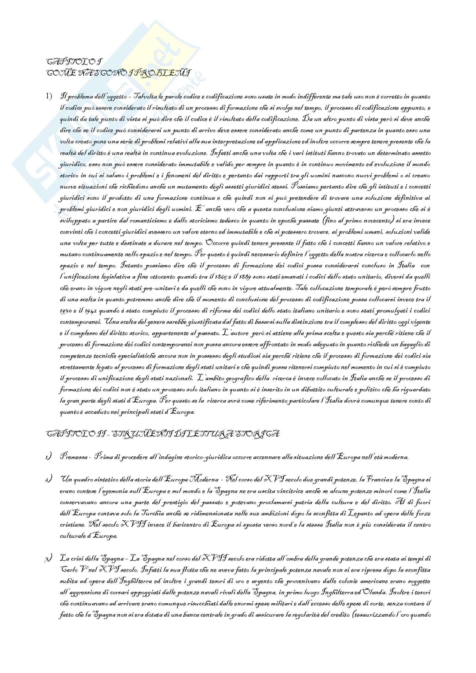Riassunto esame Storia del Diritto Italiano, prof. Petronio, libro consigliato Lotta per la Codificazione, Petronio