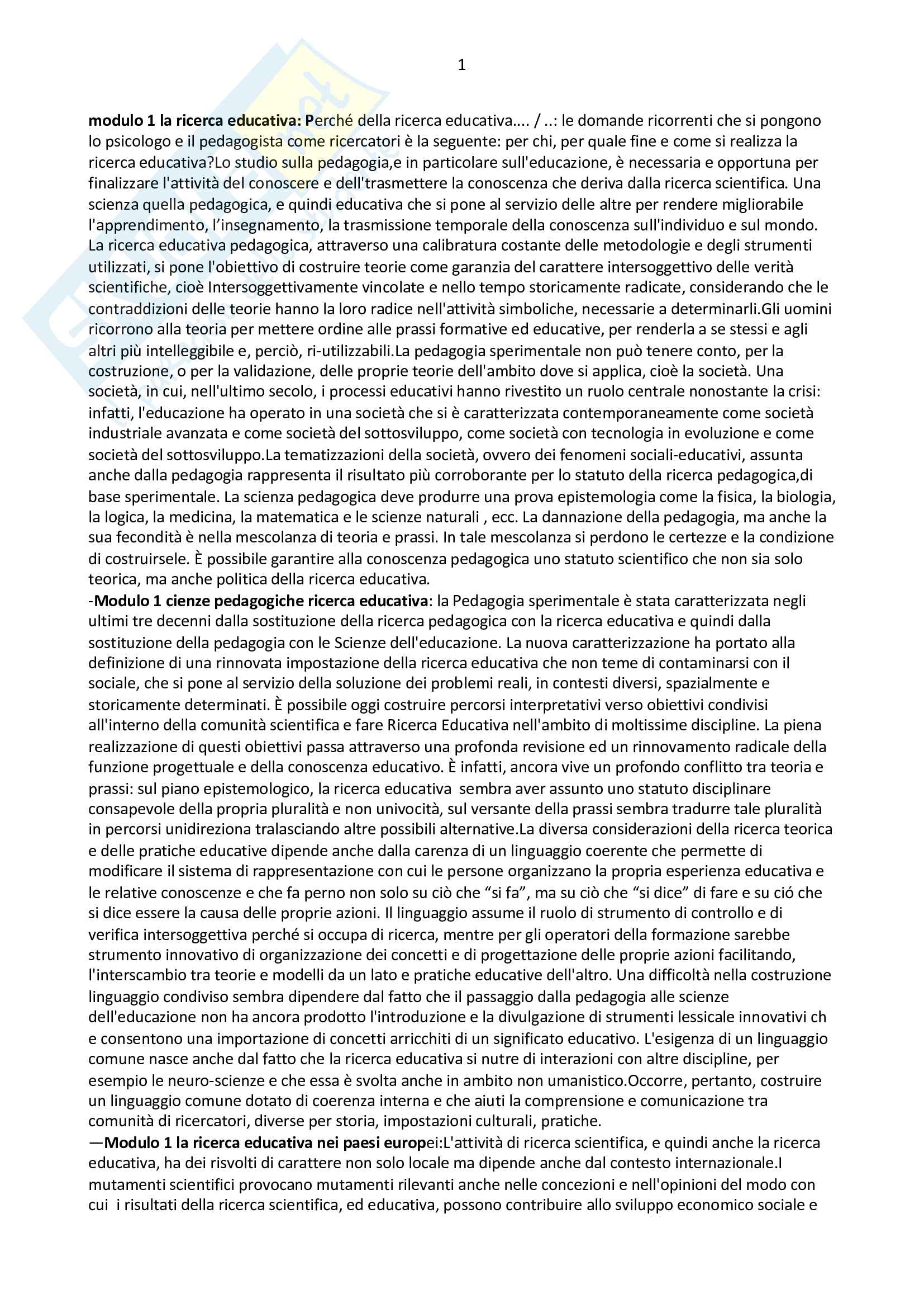 Riassunto pedagogia sperimentale - prof Melchiori